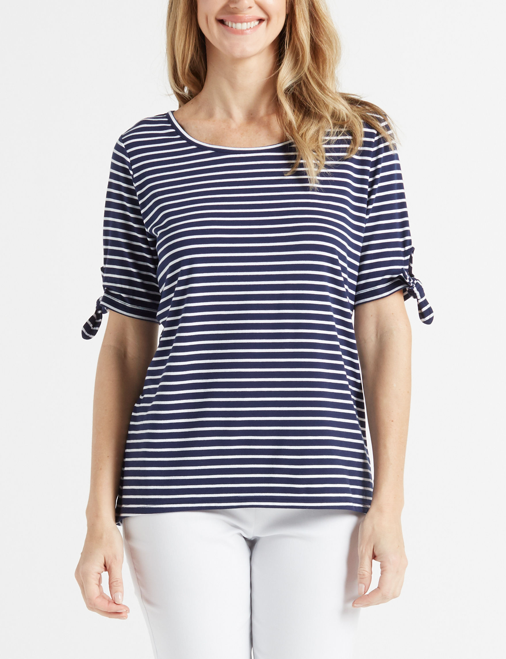 Onyx Blue / White Shirts & Blouses