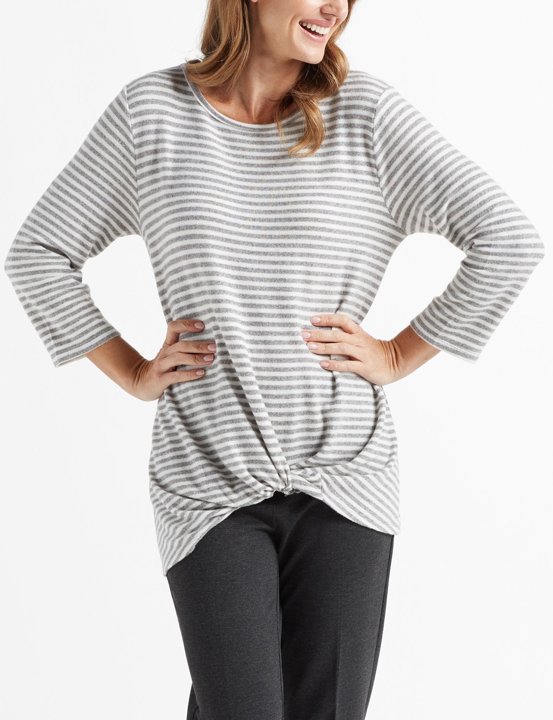 Thyme & Honey Grey Stripe Shirts & Blouses