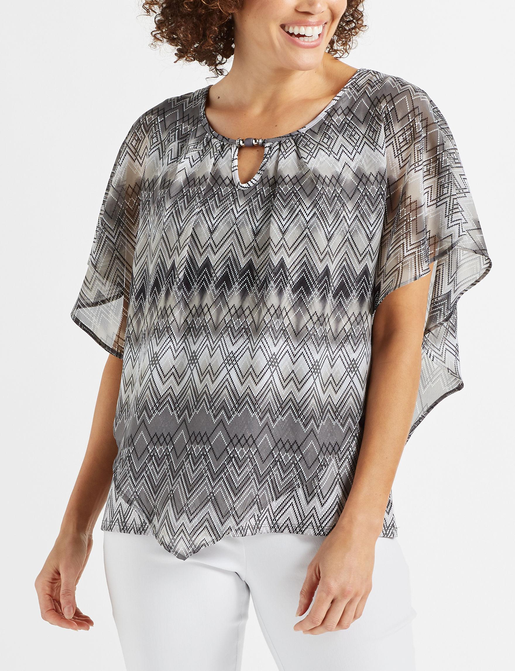 NY Collection Grey Shirts & Blouses