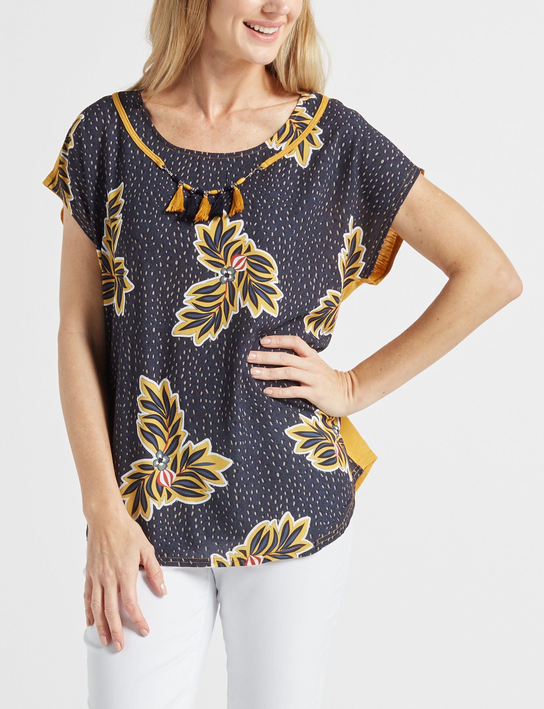 With Love Navy / Gold Shirts & Blouses