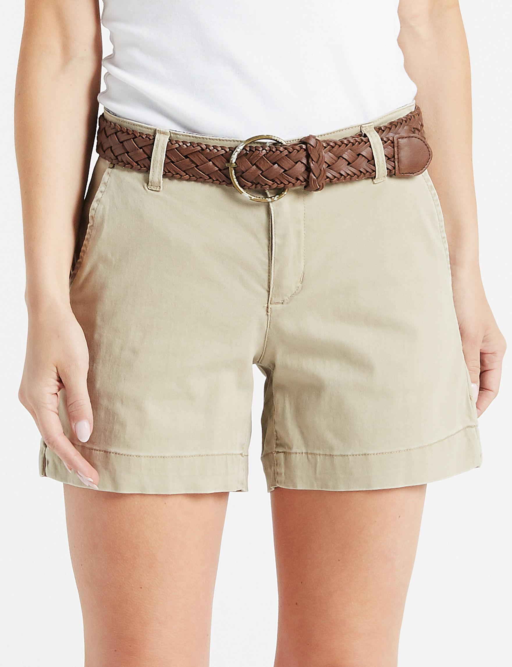 One 5 One Khaki Tailored Shorts