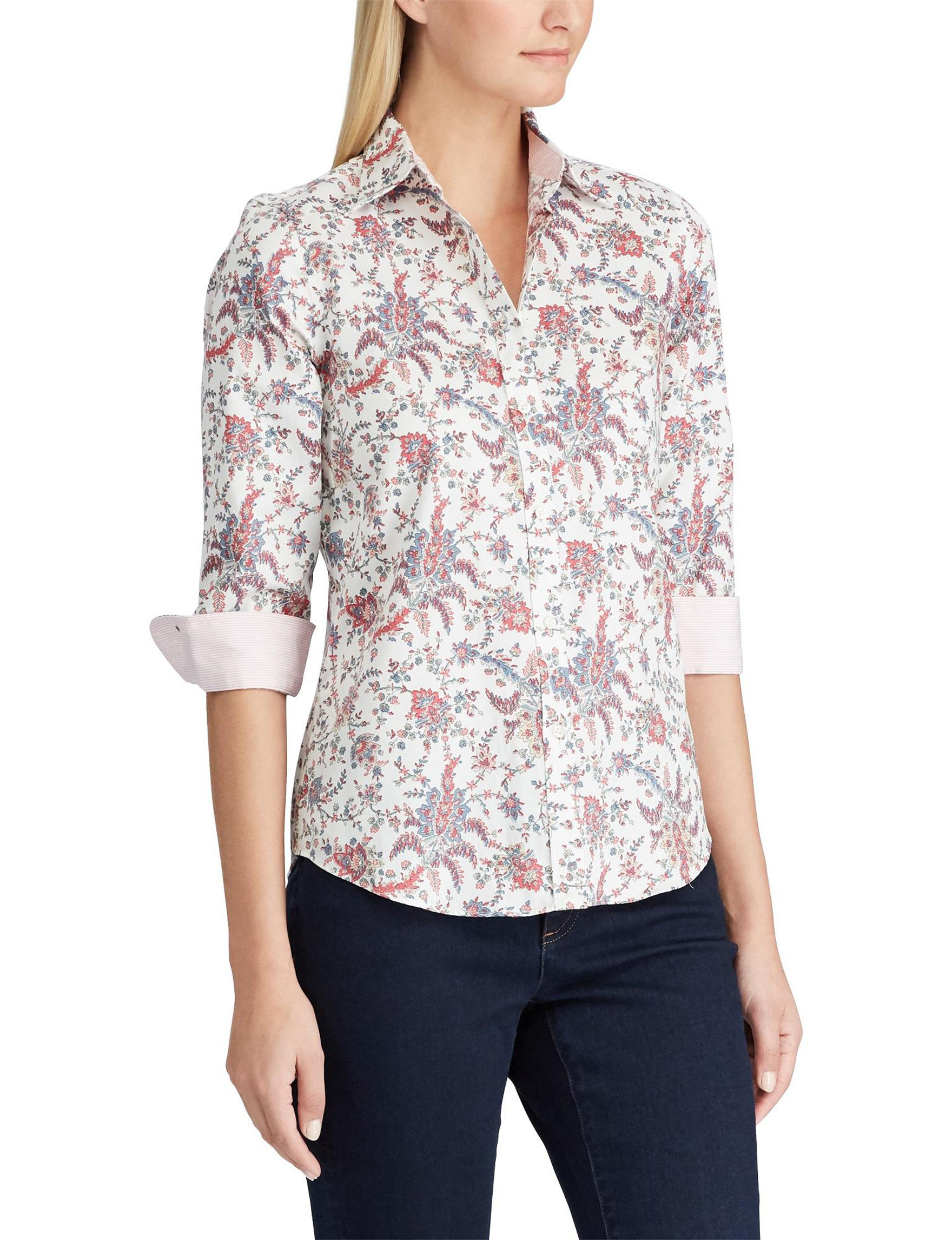 Chaps White Floral Shirts & Blouses