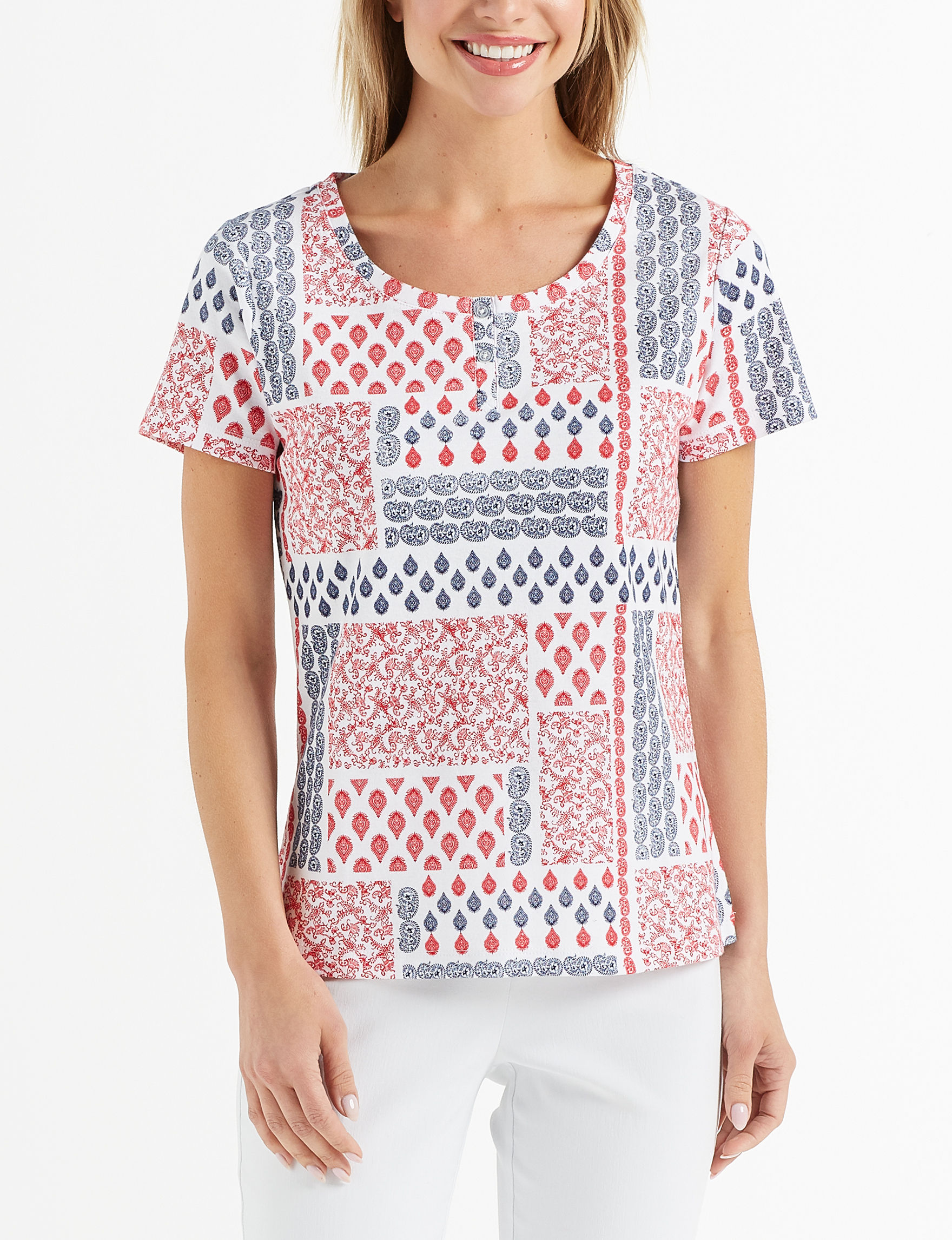 Rebecca Malone White Henleys Shirts & Blouses Tees & Tanks