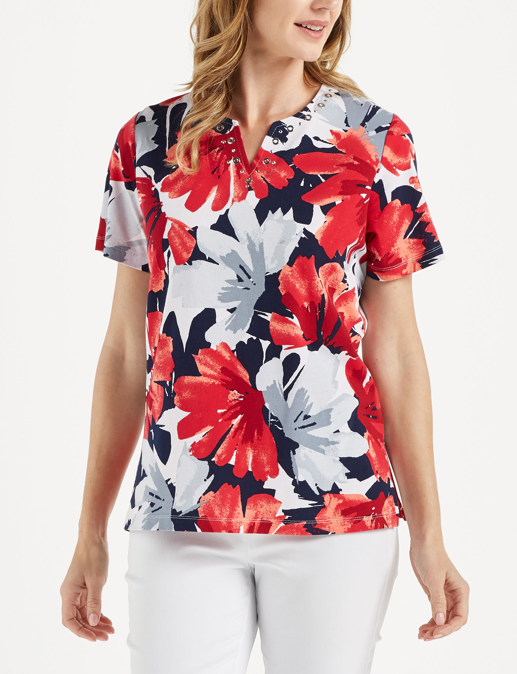 Alfred Dunner White Floral Shirts & Blouses