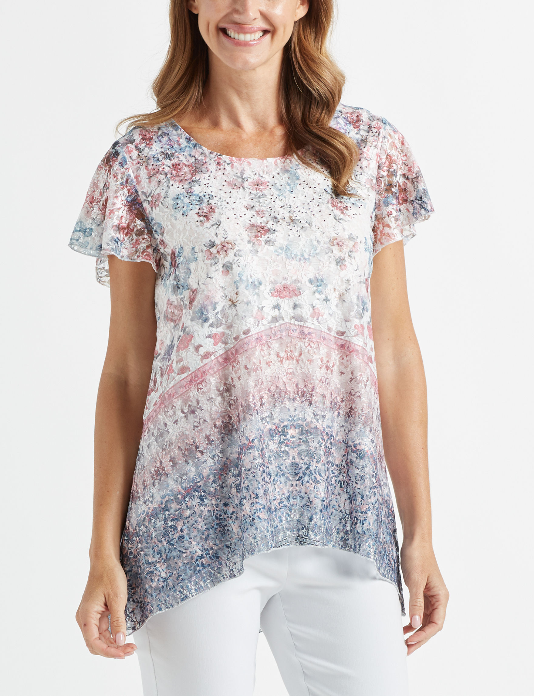 89th & Madison White Floral Shirts & Blouses