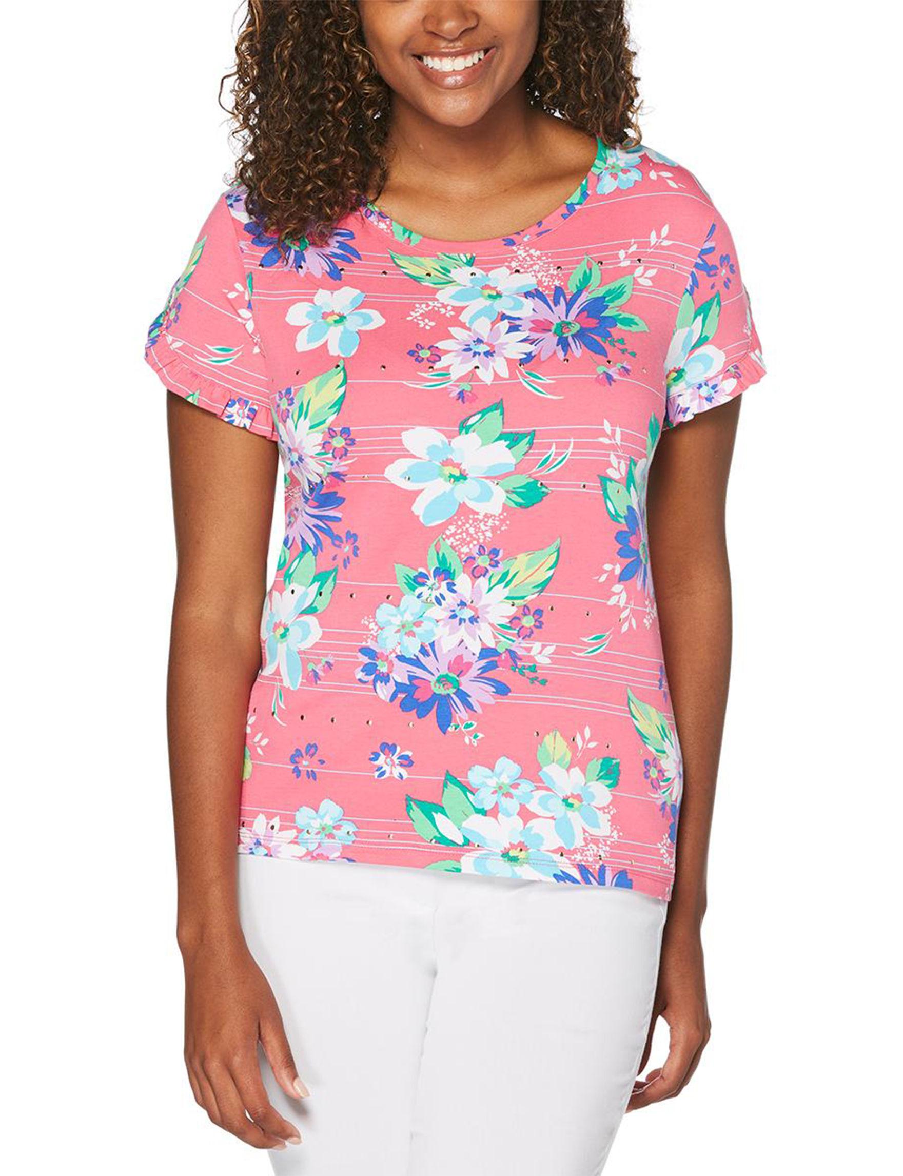Rafaella Pink Floral Shirts & Blouses