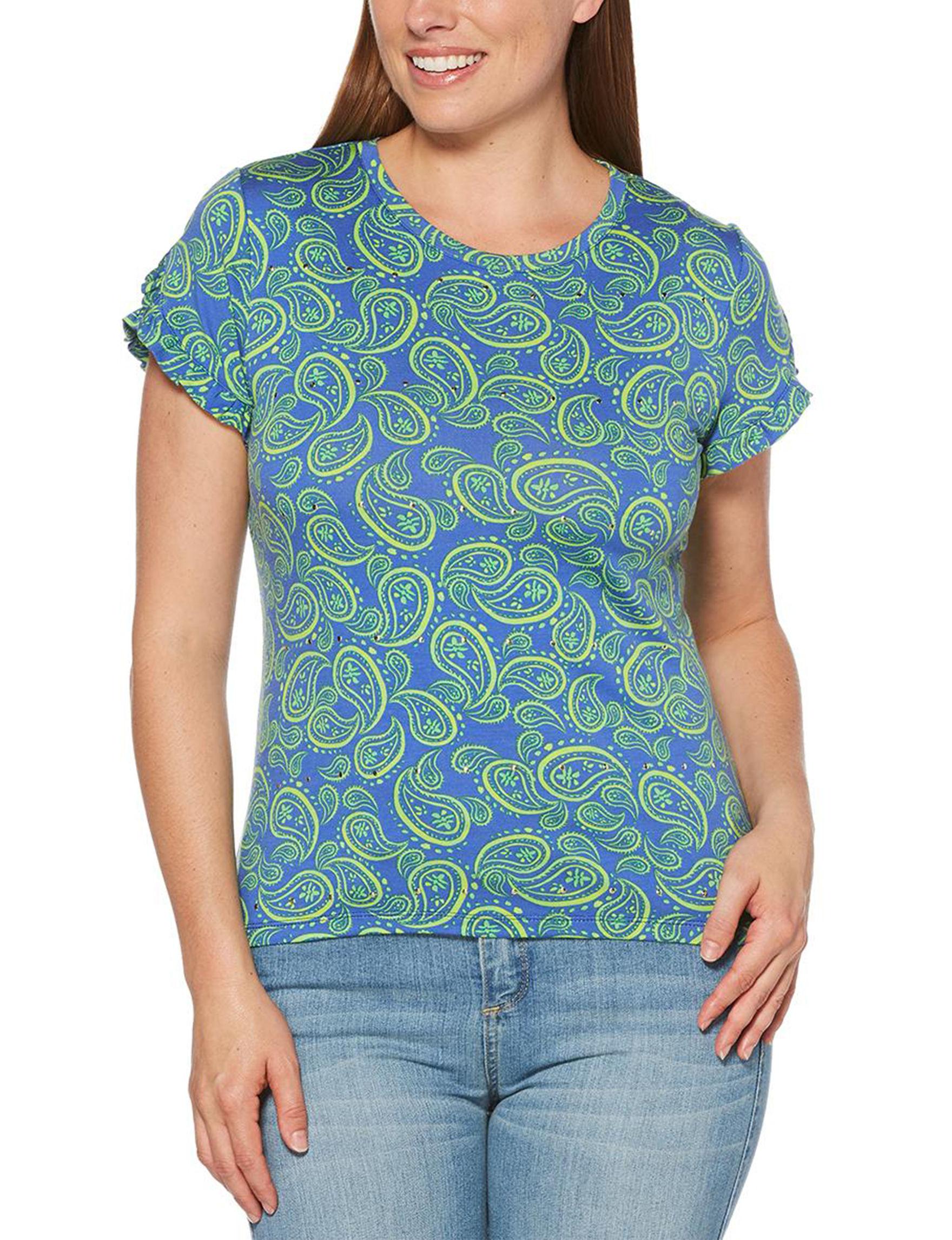 Rafaella Navy / Green Shirts & Blouses Tees & Tanks