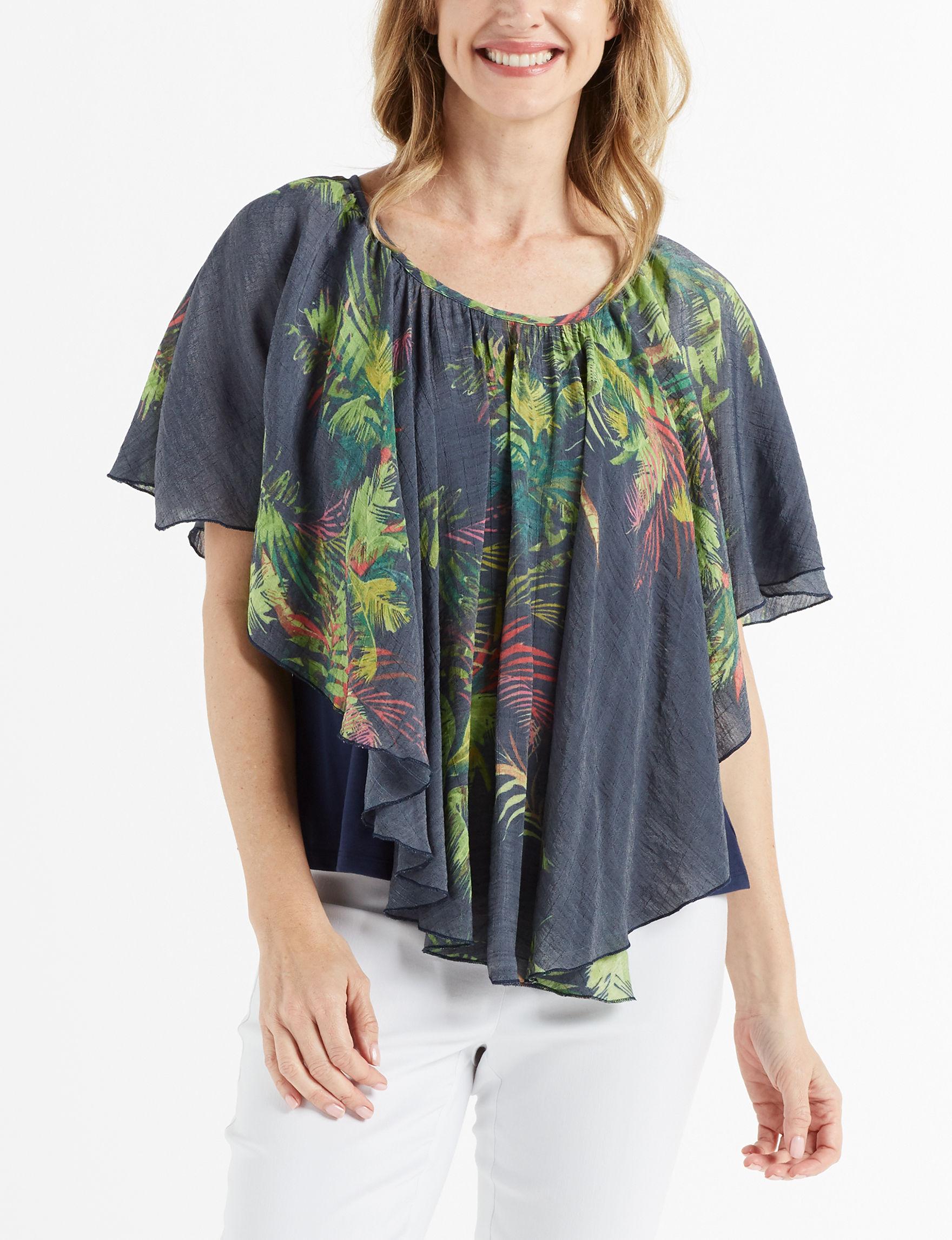 Zac & Rachel Navy Ponchos Shirts & Blouses