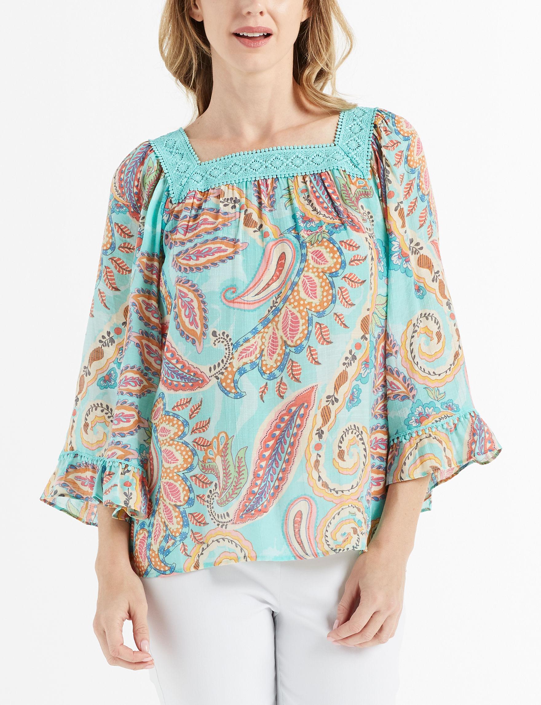 Zac & Rachel Turquoise Shirts & Blouses