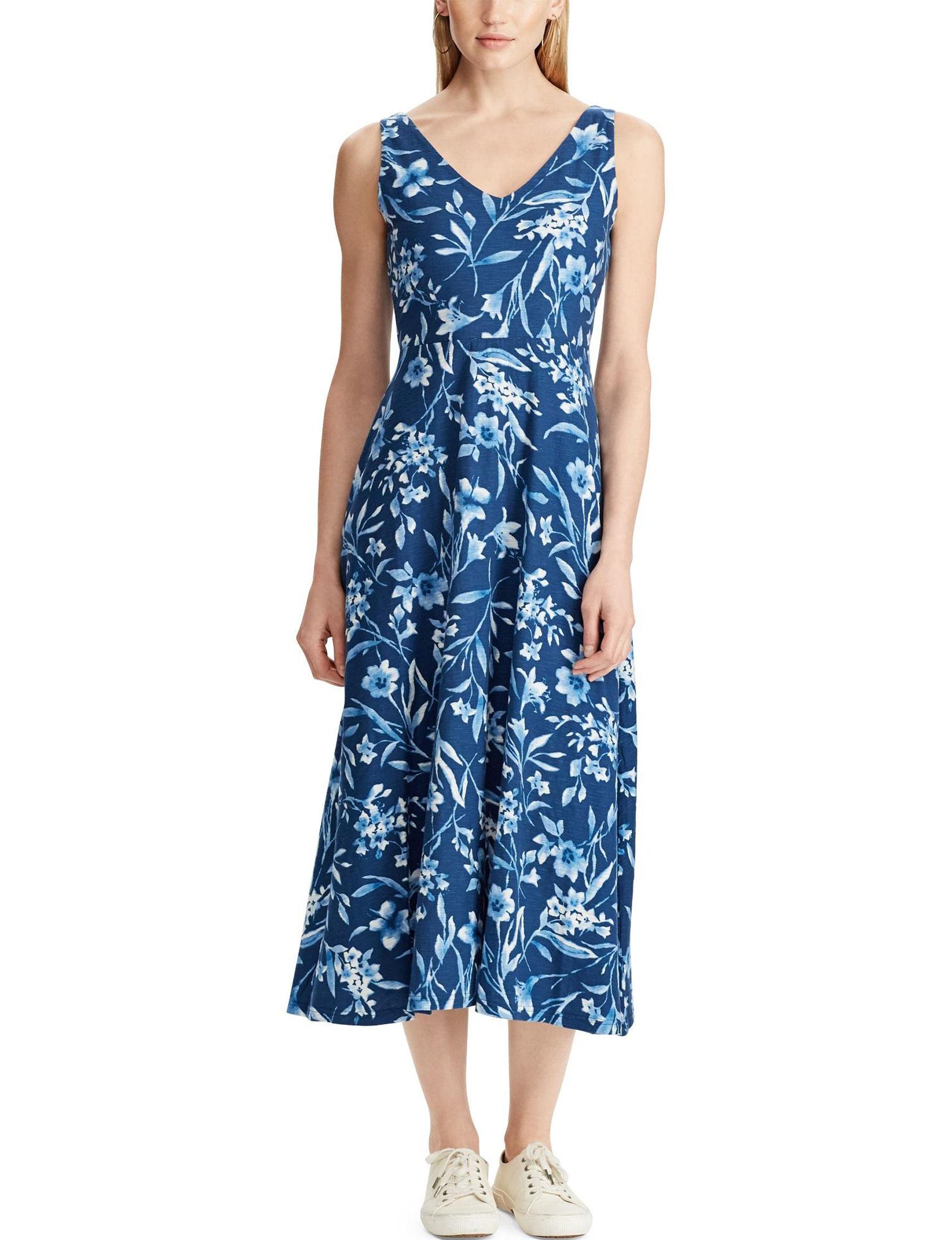 Chaps Blue Fit & Flare Dresses Sundresses