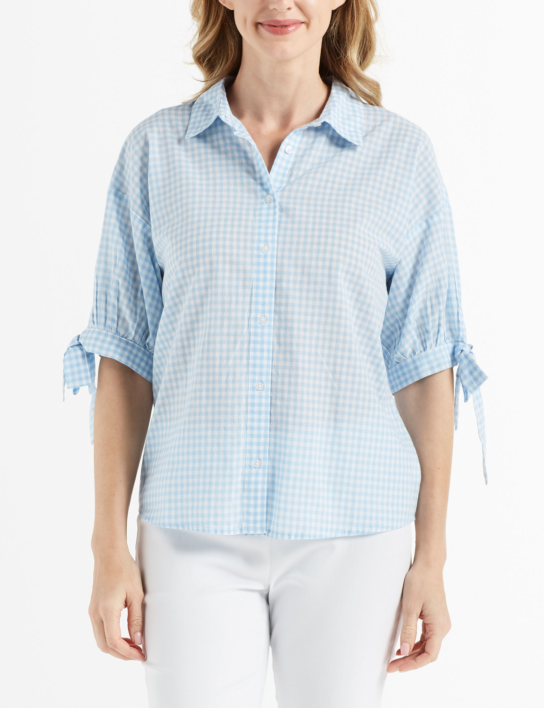 Gloria Vanderbilt Blue Shirts & Blouses