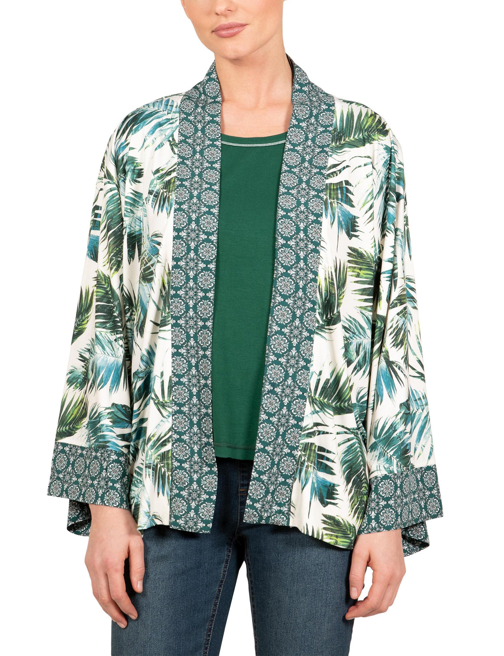 Skyes The Limit White / Green Kimonos & Toppers