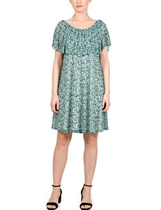 Skyes The Limit White / Green Everyday & Casual Fit & Flare Dresses