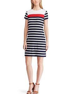 Chaps White / Blue Everyday & Casual Sheath Dresses