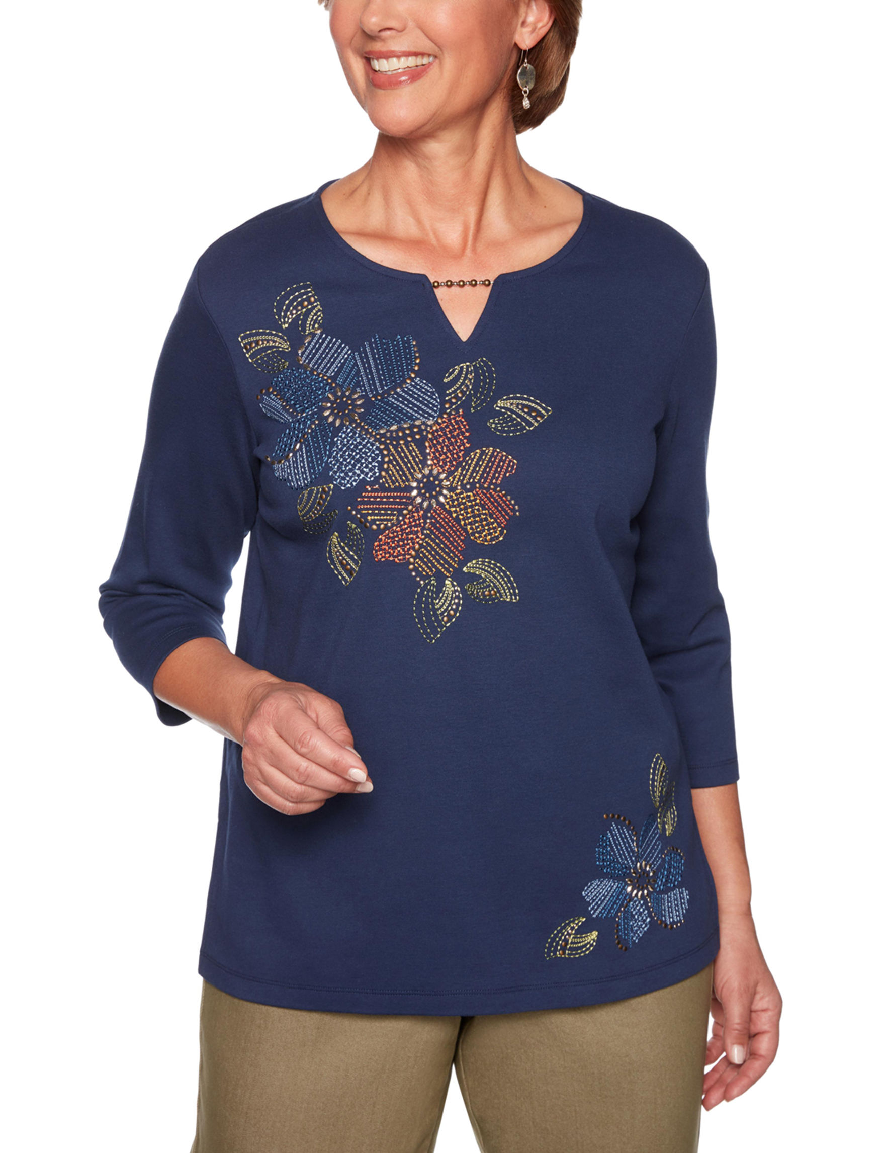 Alfred Dunner Navy Shirts & Blouses
