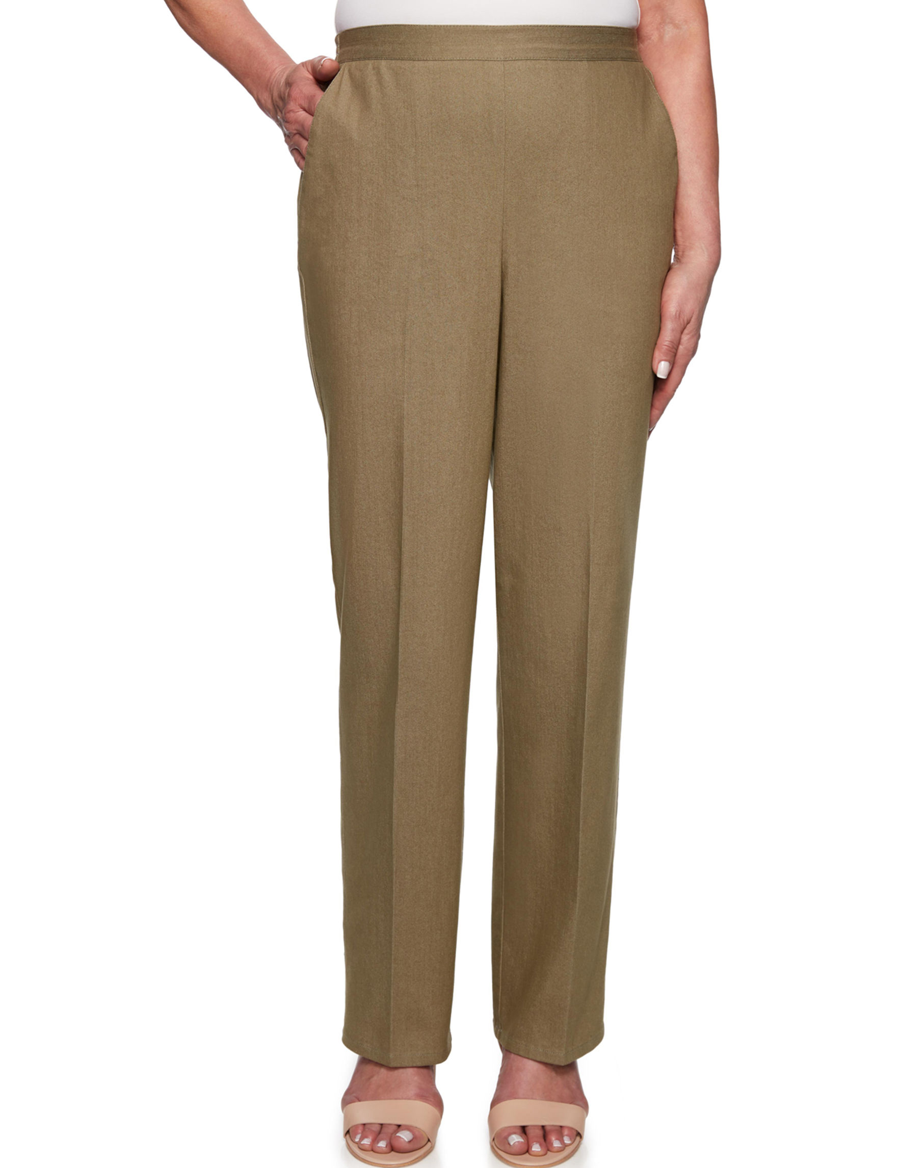Alfred Dunner Olive Soft Pants Straight Stretch