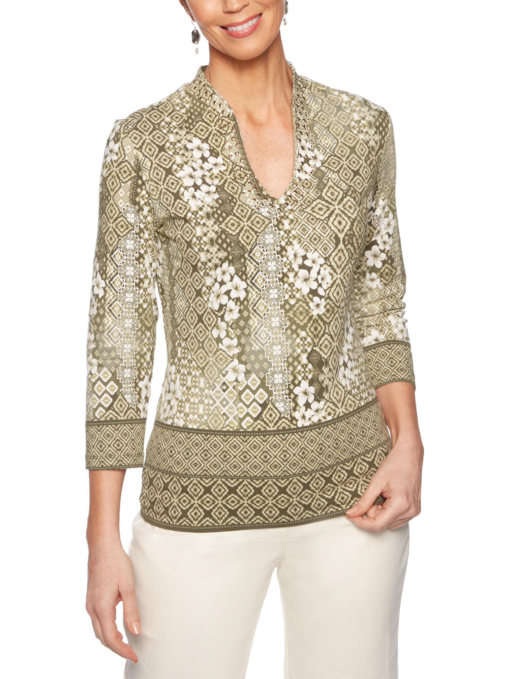 Ruby Road Green Multi Shirts & Blouses