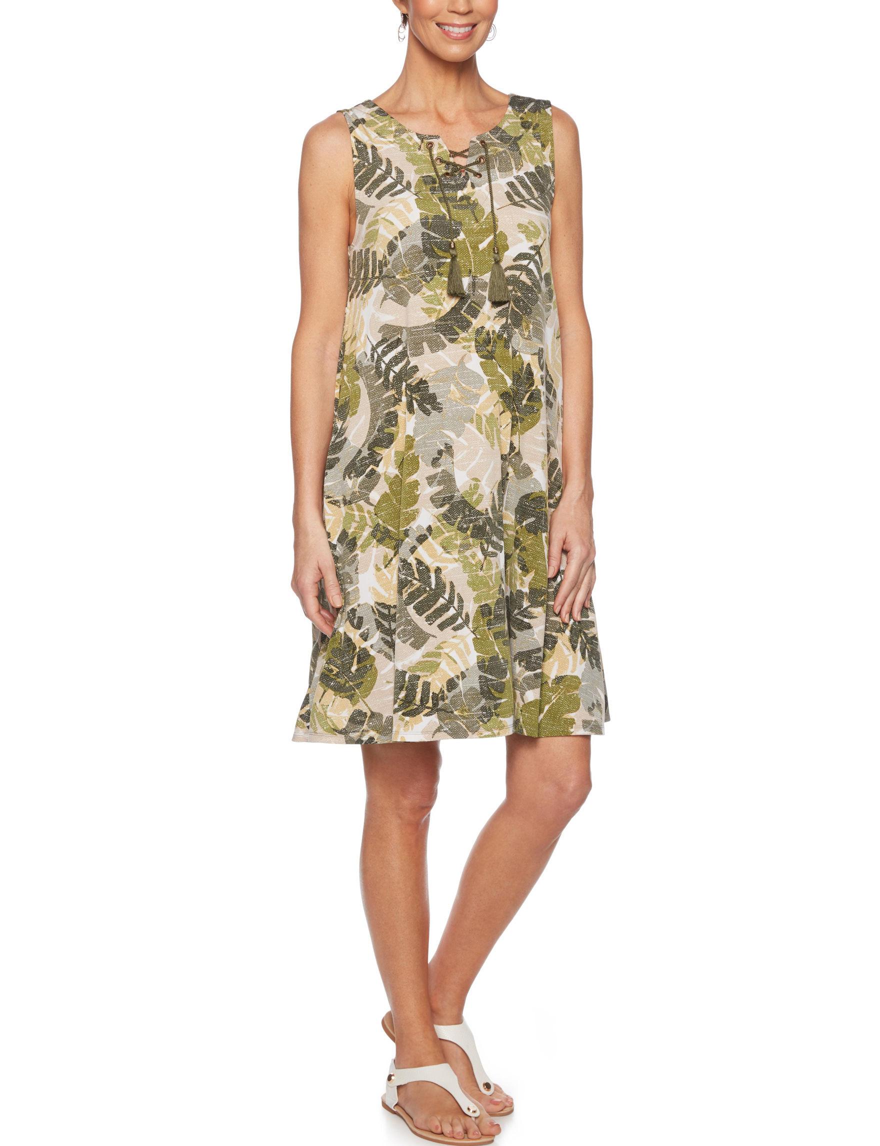 Ruby Road Green Multi A-line Dresses Sundresses