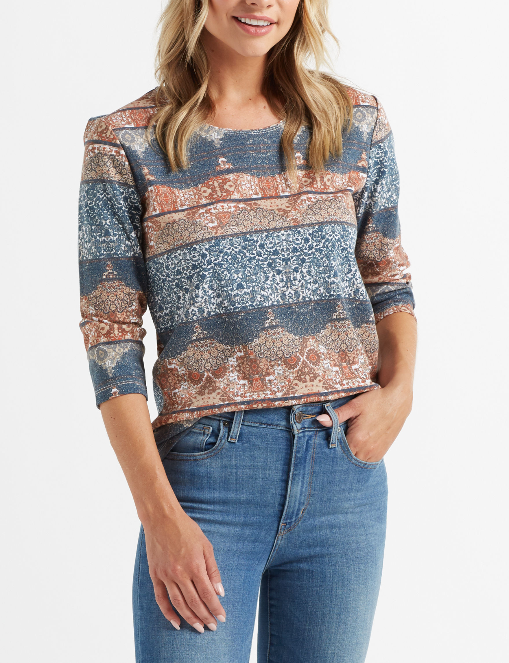 Rebecca Malone Blue / Multi Shirts & Blouses Tees & Tanks