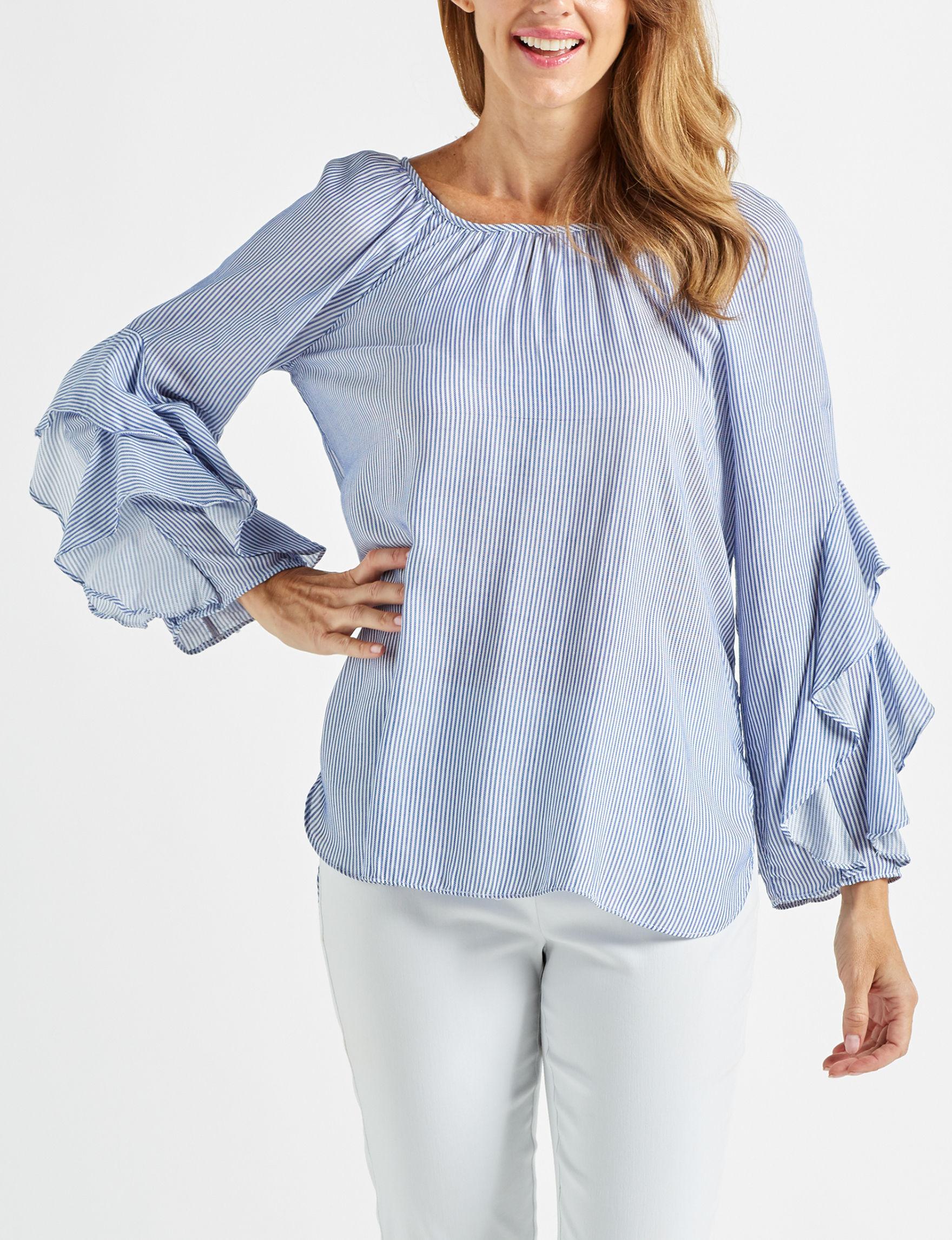 Blush Collection White Stripe Shirts & Blouses