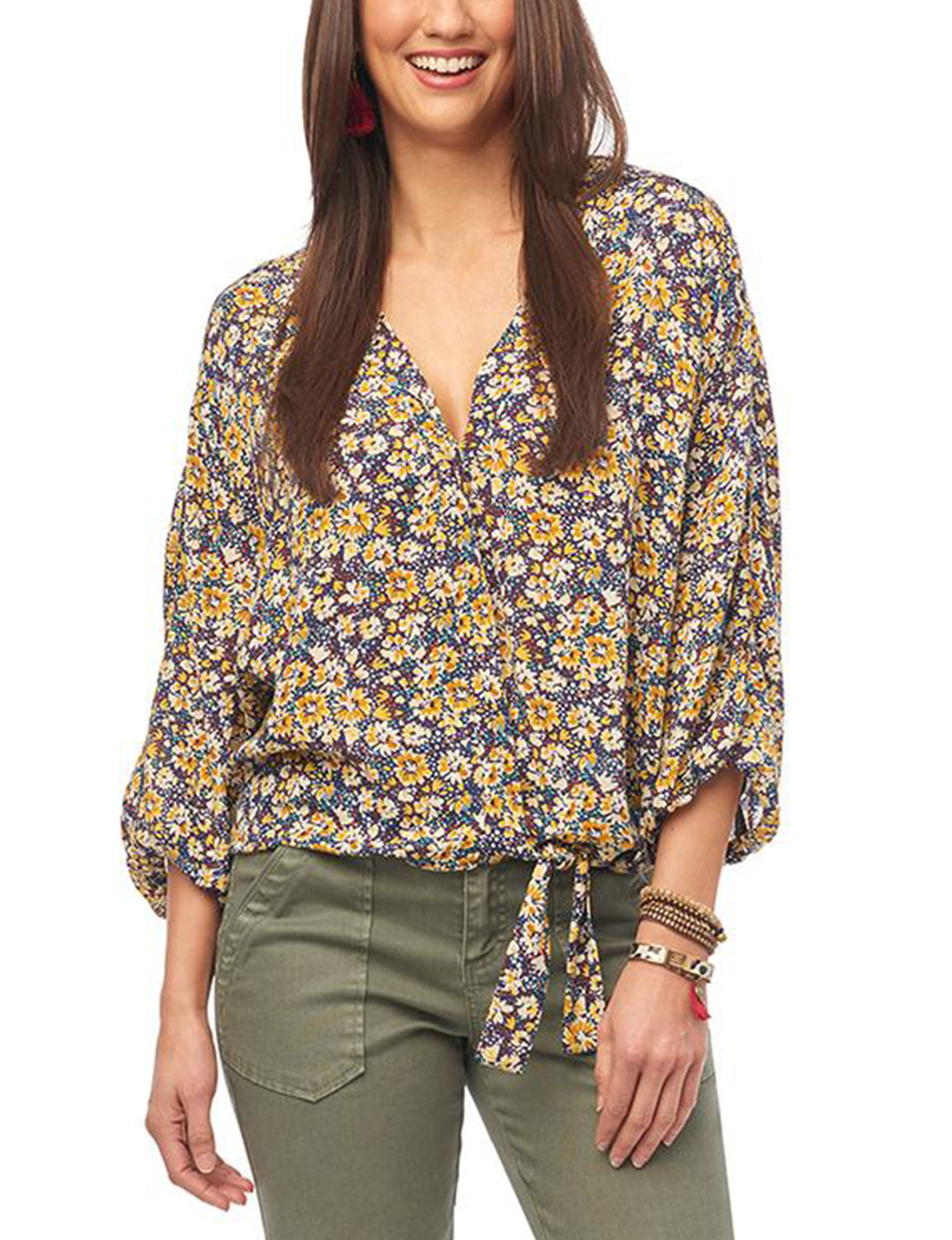 Democracy Yellow Floral Everyday & Casual Shirts & Blouses