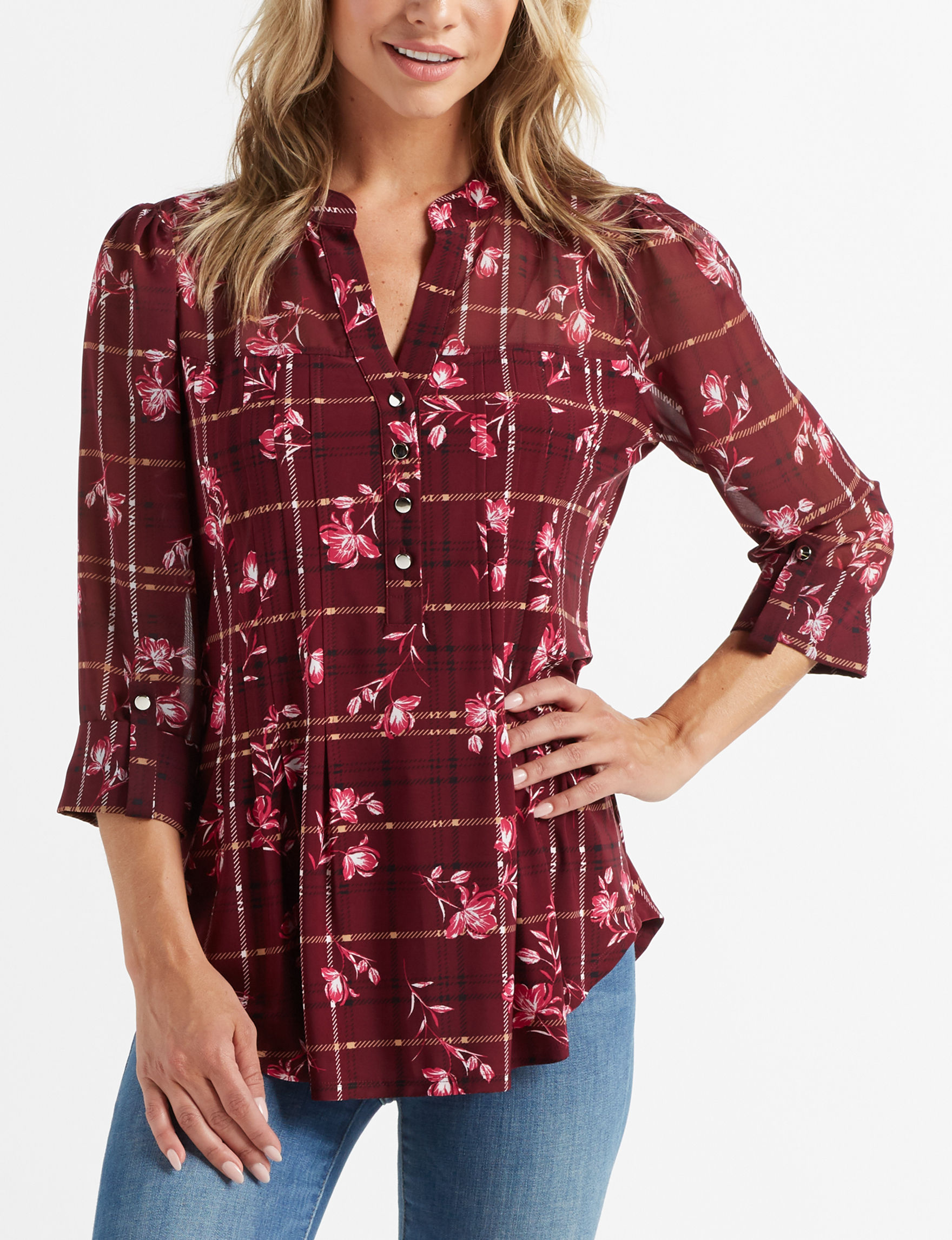 Cocomo Burgundy Shirts & Blouses