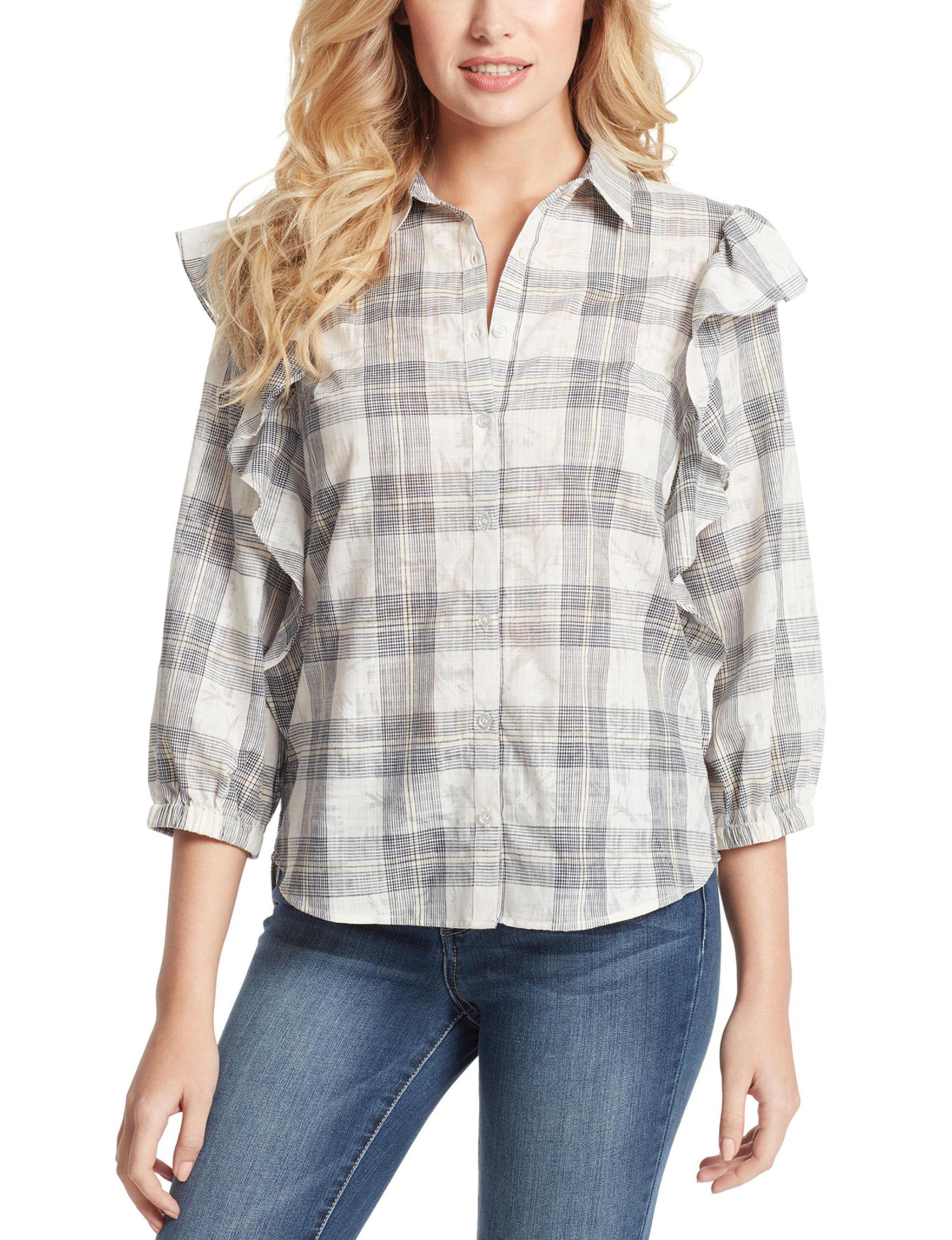 Jessica Simpson Beige Plaid Shirts & Blouses