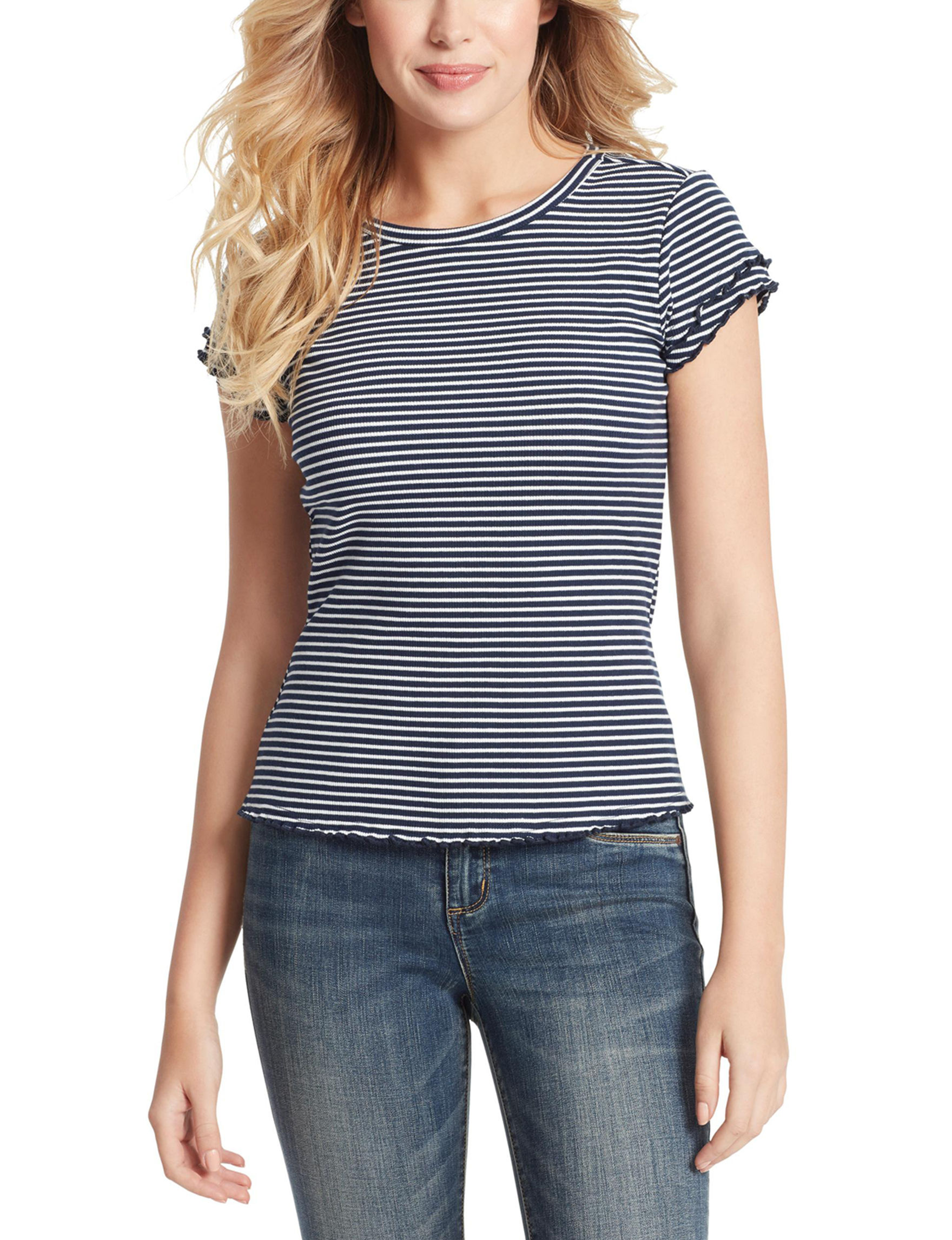 Jessica Simpson Navy Stripe Shirts & Blouses
