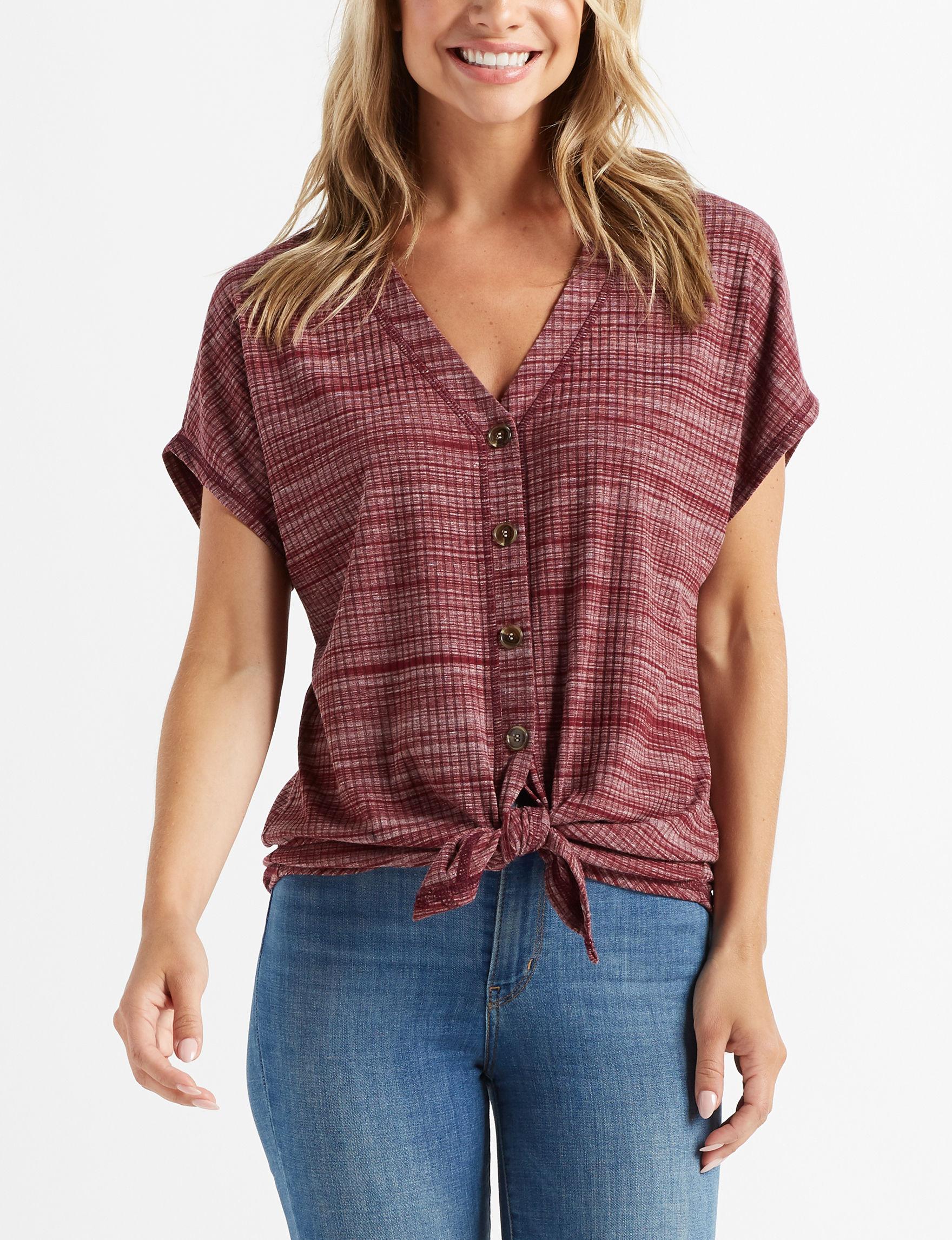 Isela Burgundy Shirts & Blouses