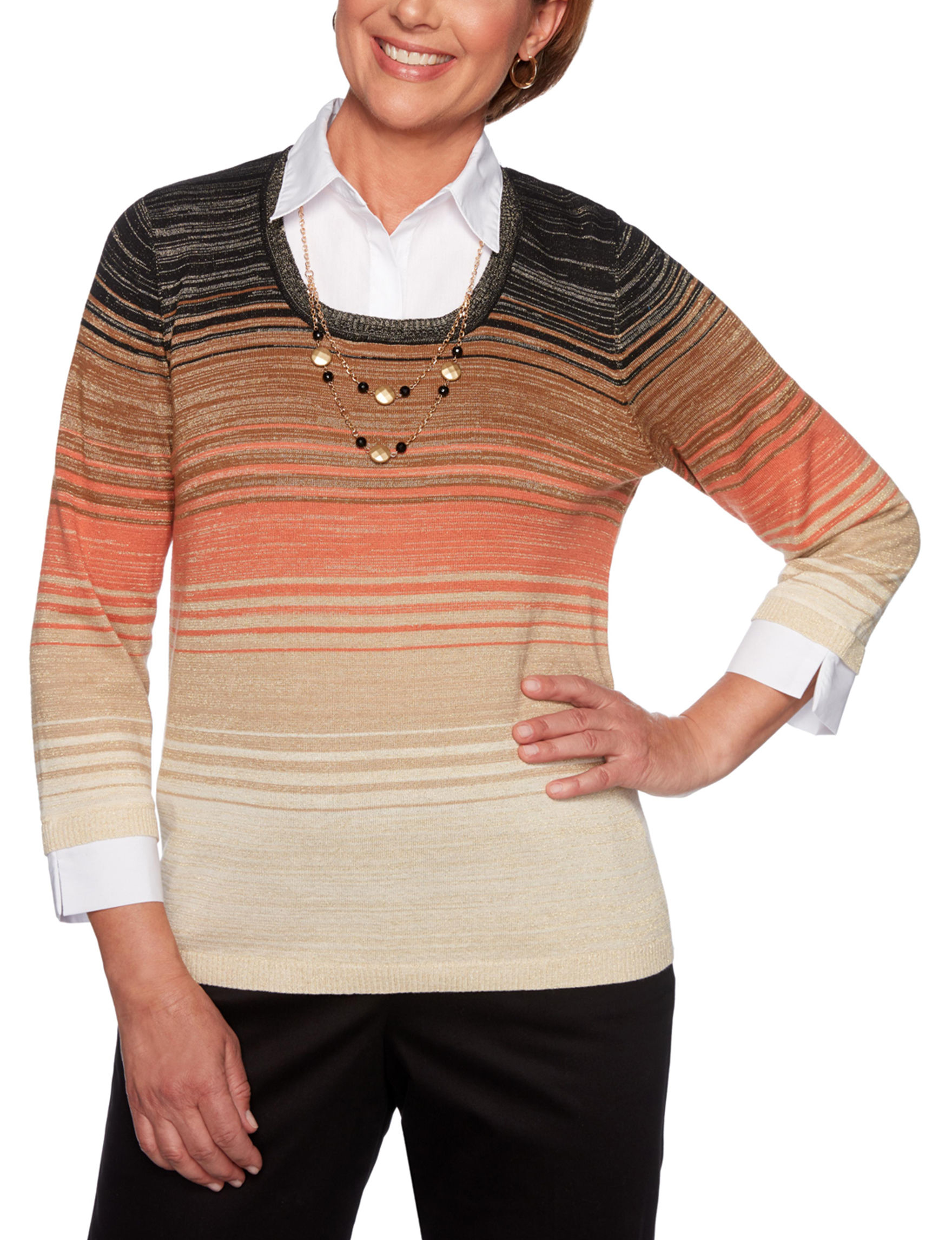 Alfred Dunner Beige Multi Shirts & Blouses