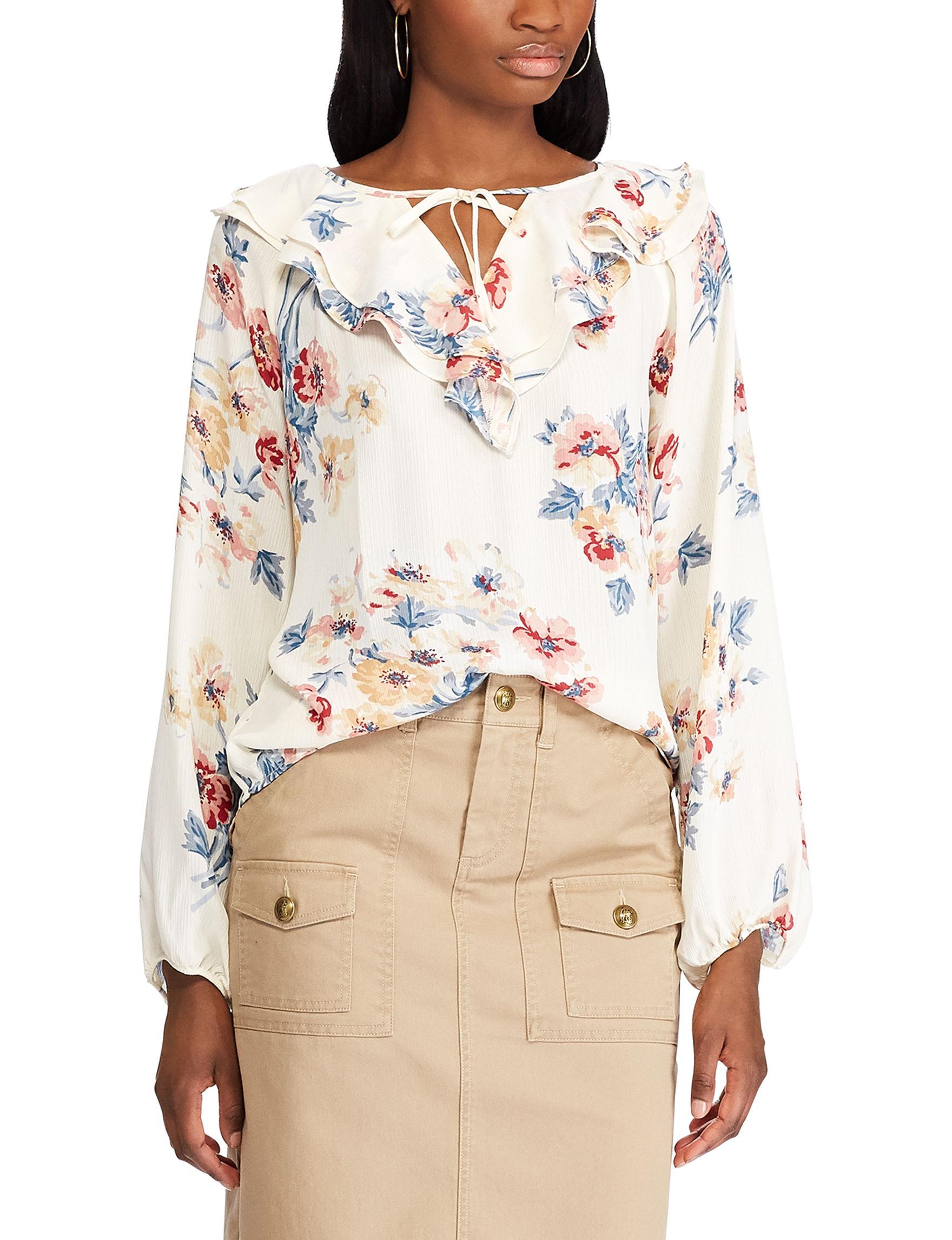 Chaps Cream Floral Shirts & Blouses