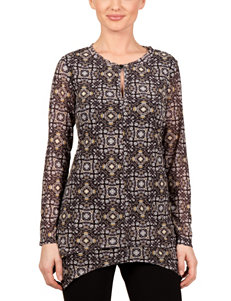 Skyes The Limit Black / Brown Shirts & Blouses