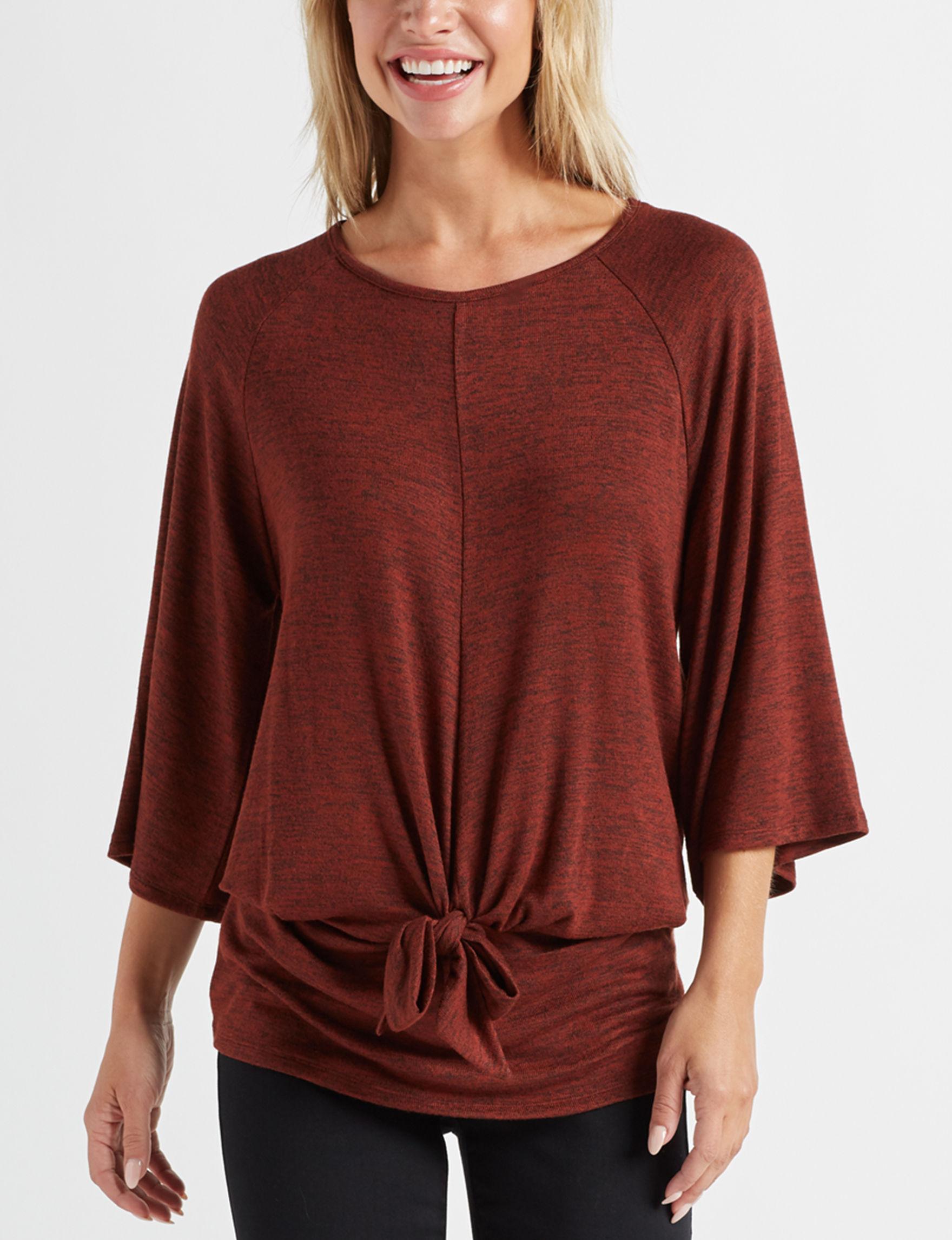 Olivia Blu Burgundy Shirts & Blouses