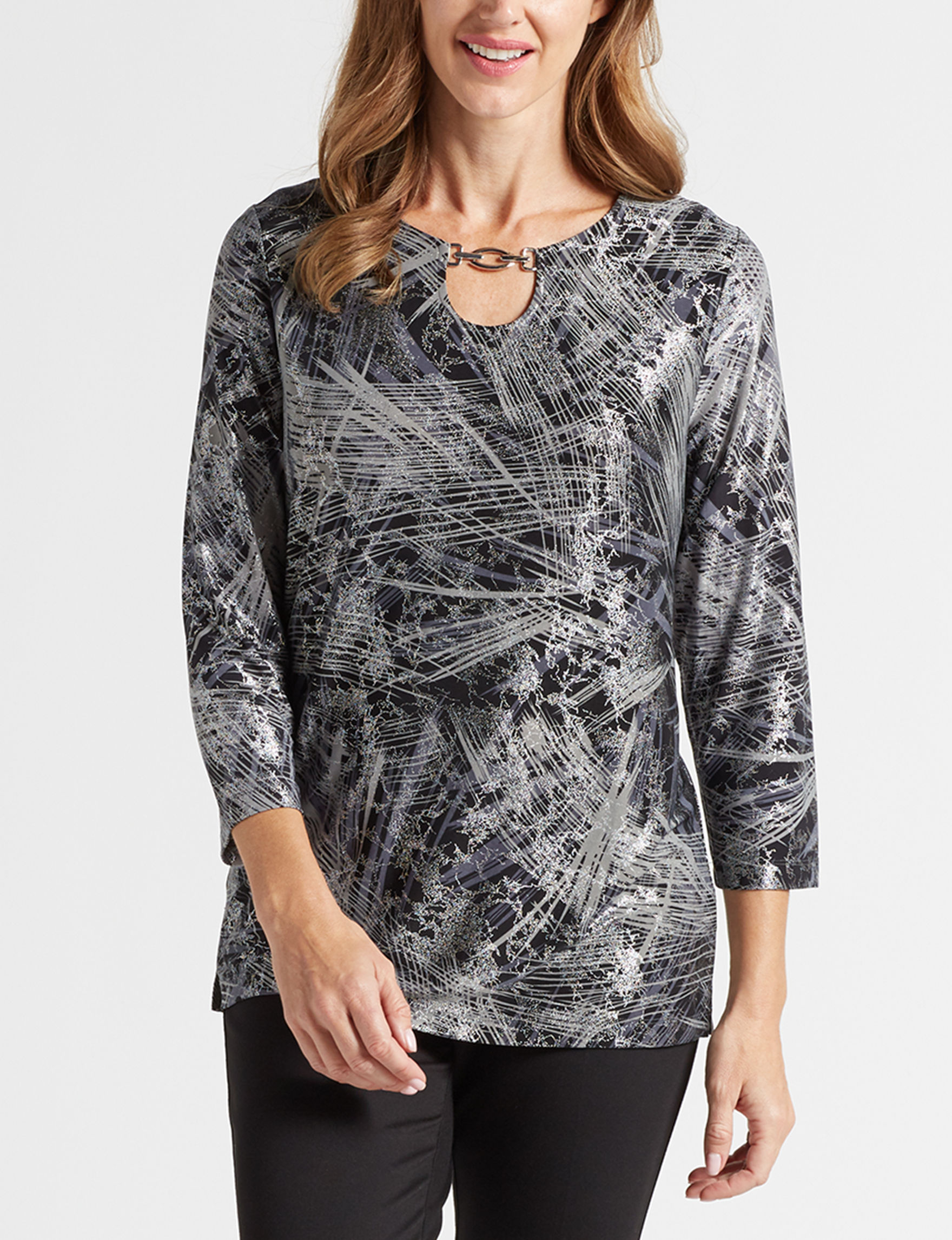 Rebecca Malone Black / Silver Shirts & Blouses