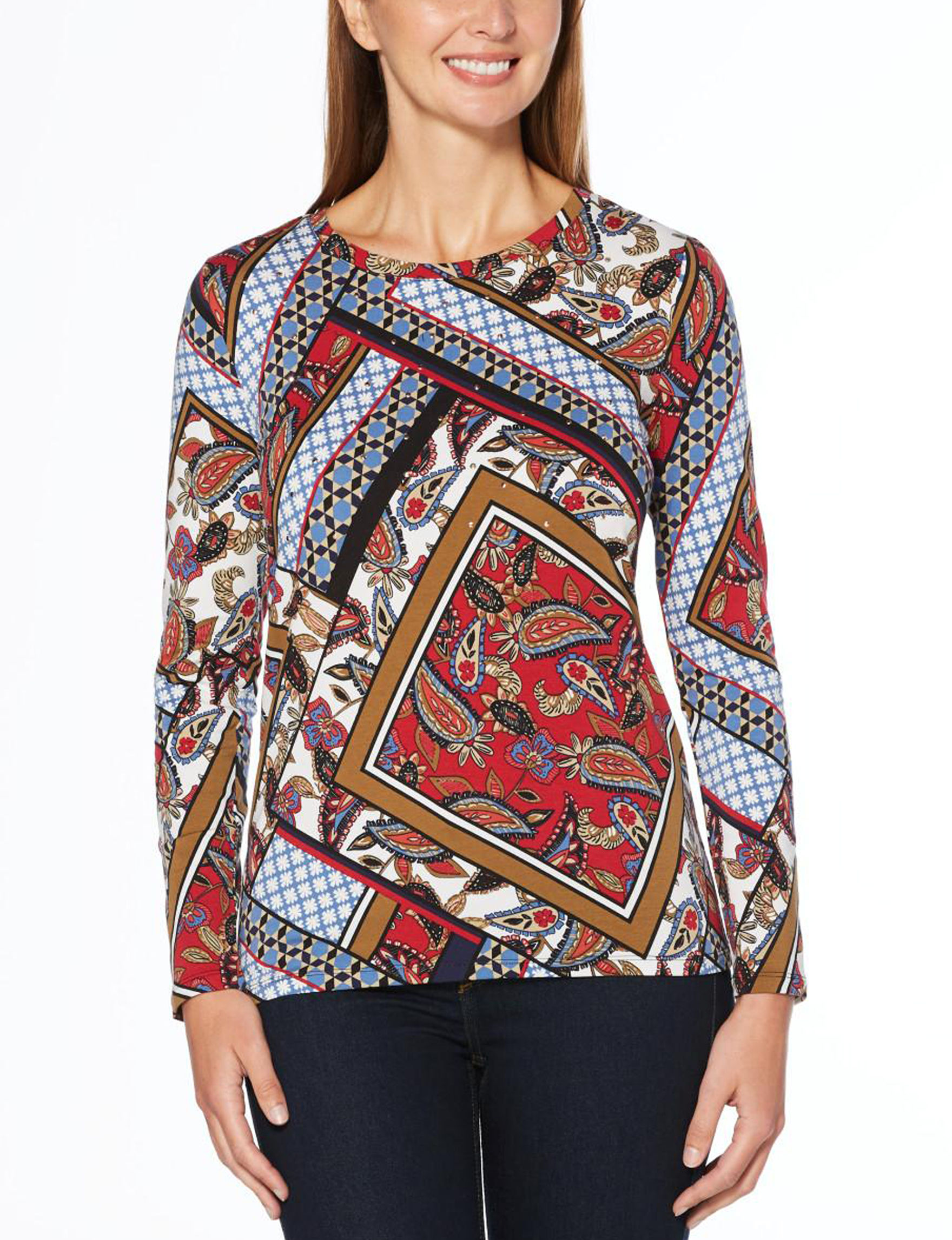 Rafaella Red Multi Shirts & Blouses