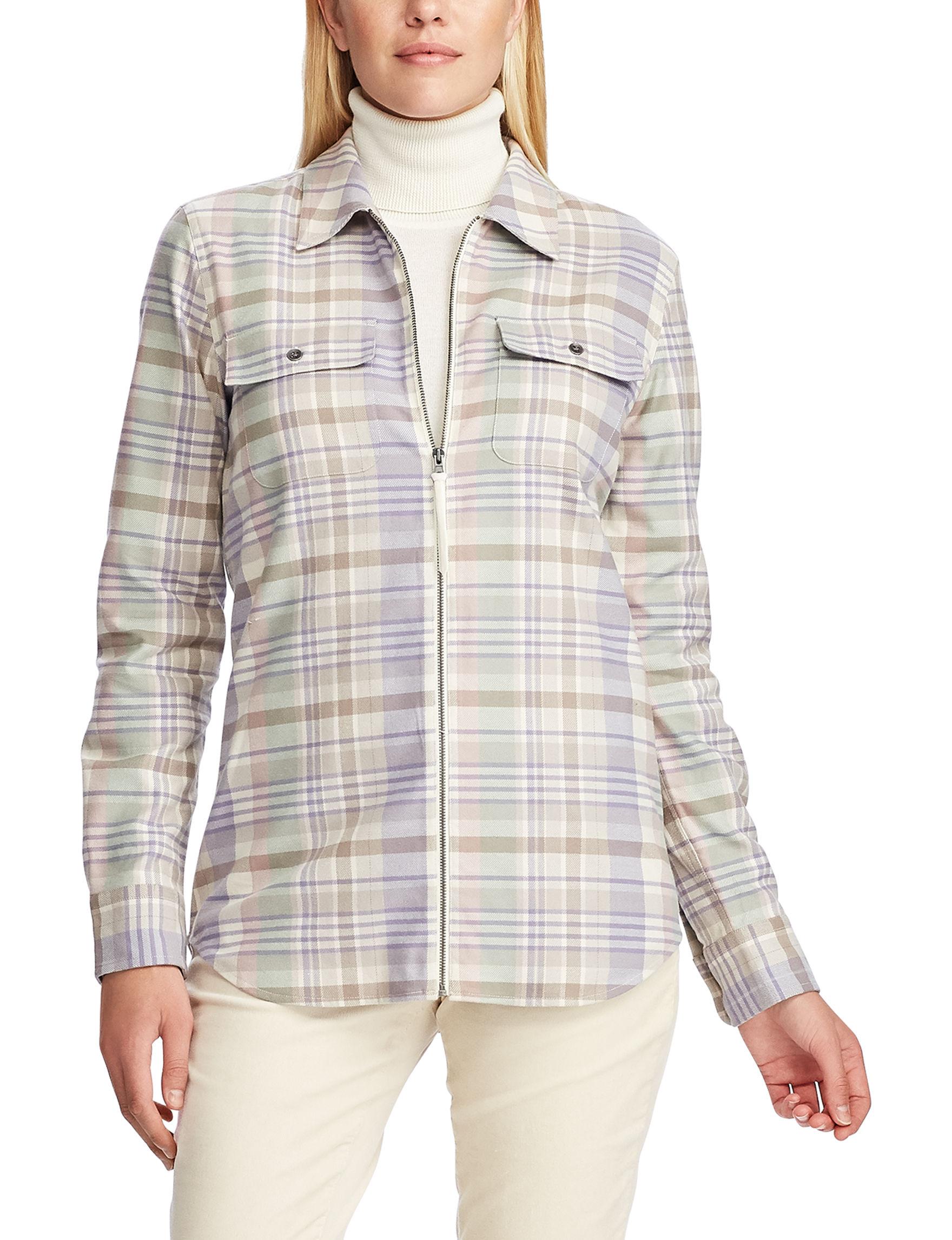 Chaps Cream Multi Shirts & Blouses