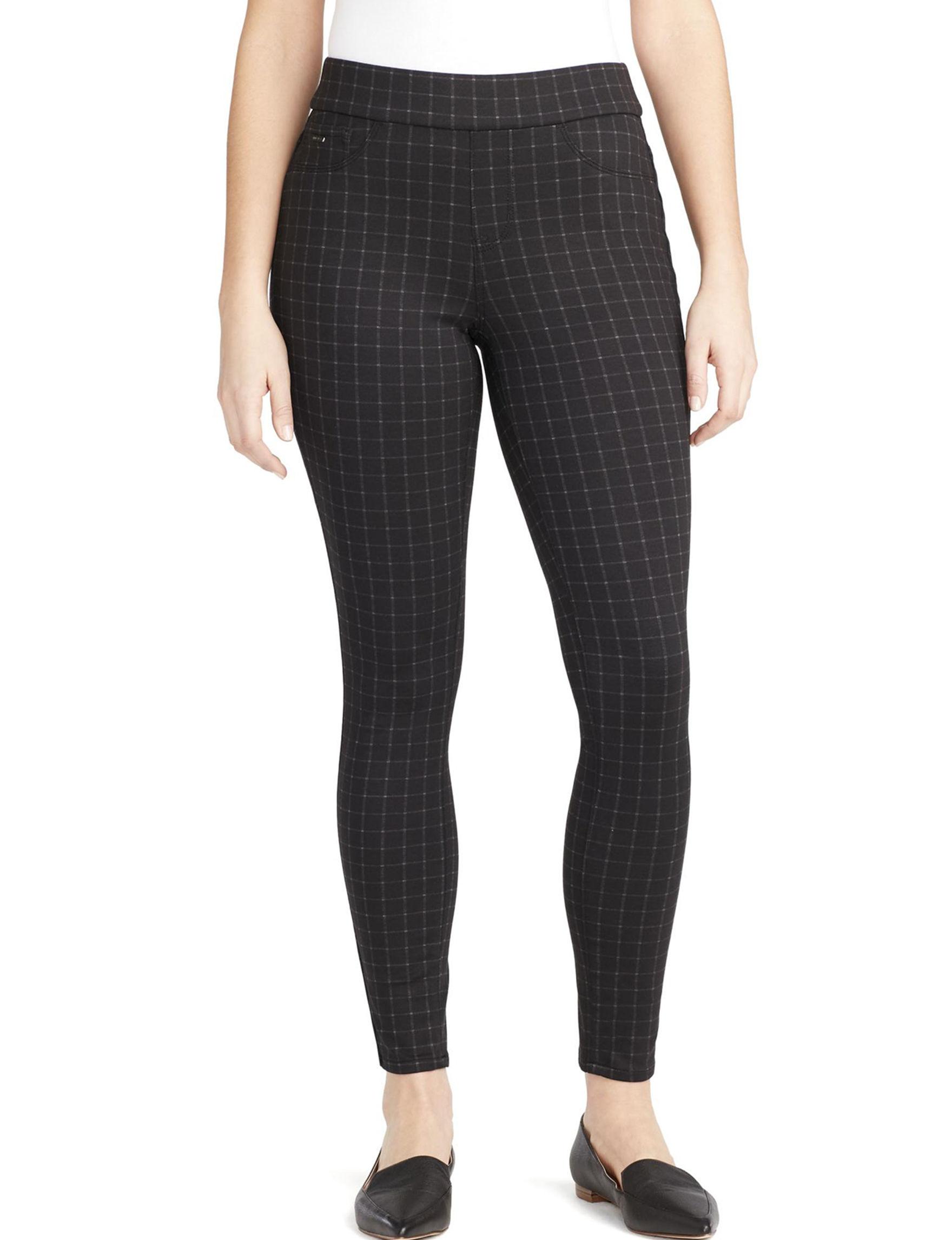 Nine West Black Plaid Soft Pants