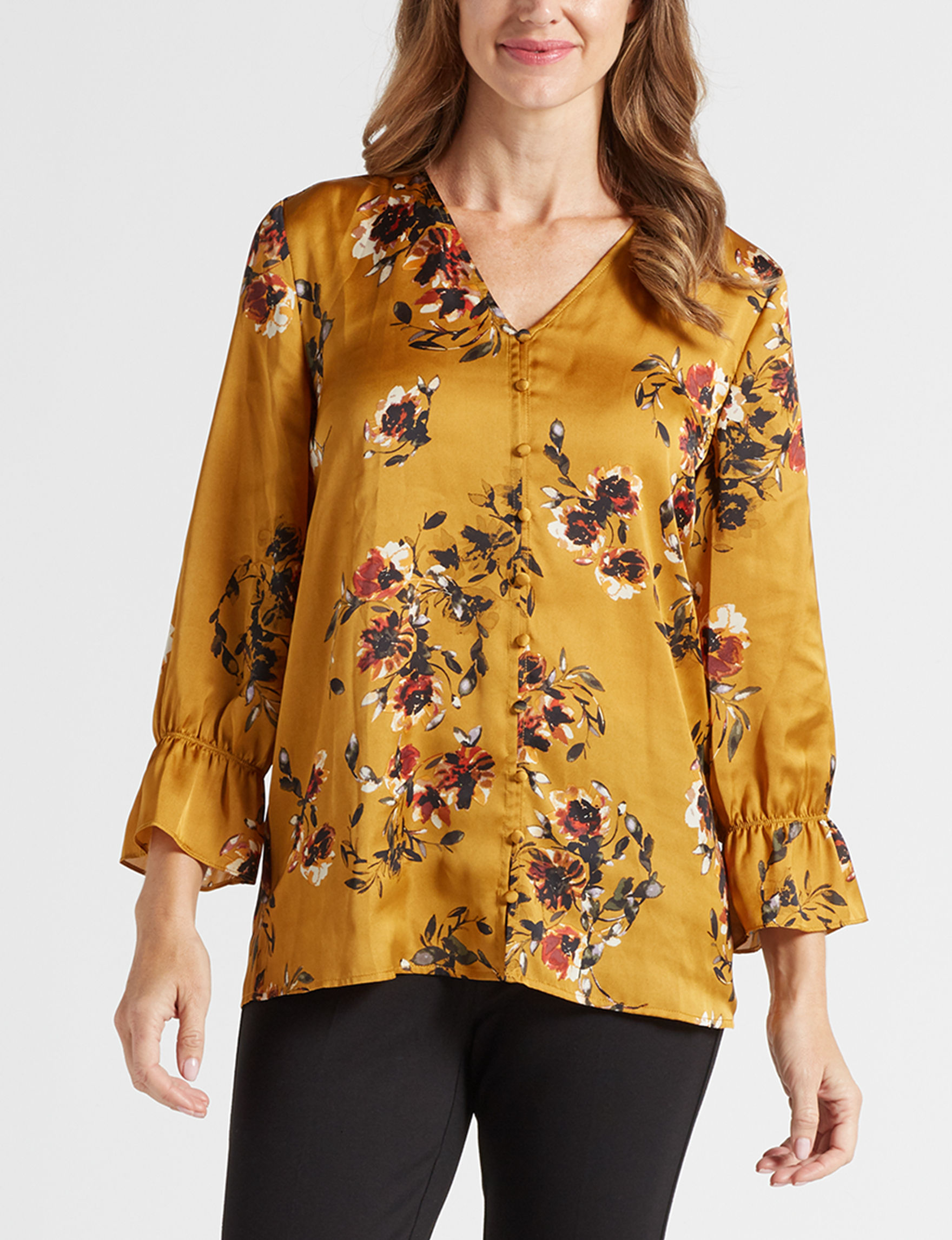Rebecca Malone Mustard Floral Shirts & Blouses