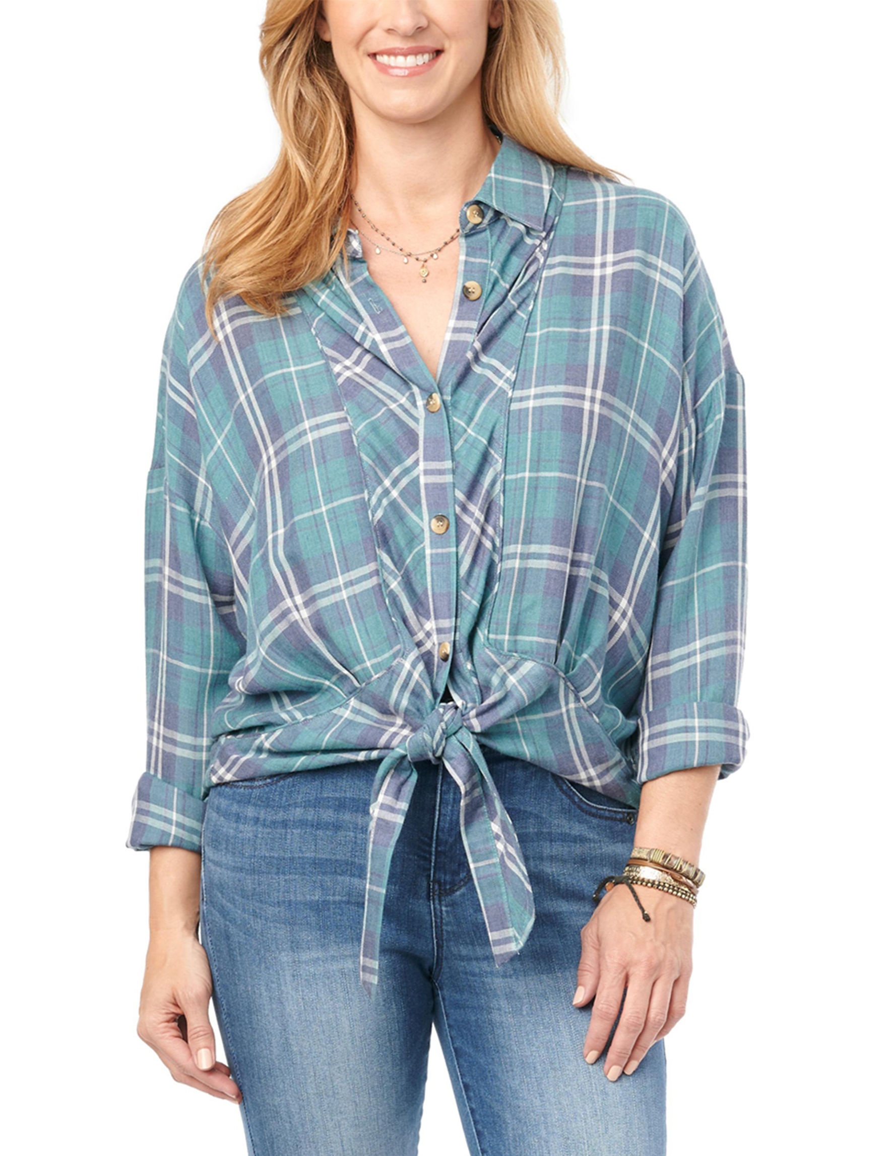 Democracy Blue Plaid Shirts & Blouses