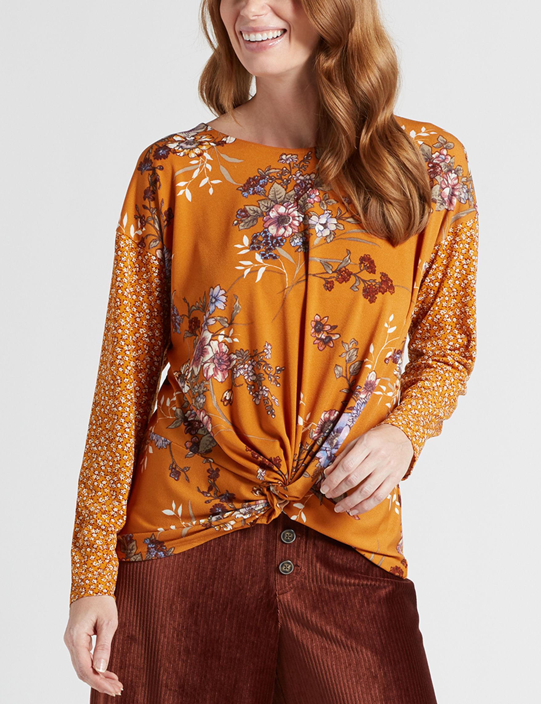 Signature Studio Mustard Floral Shirts & Blouses