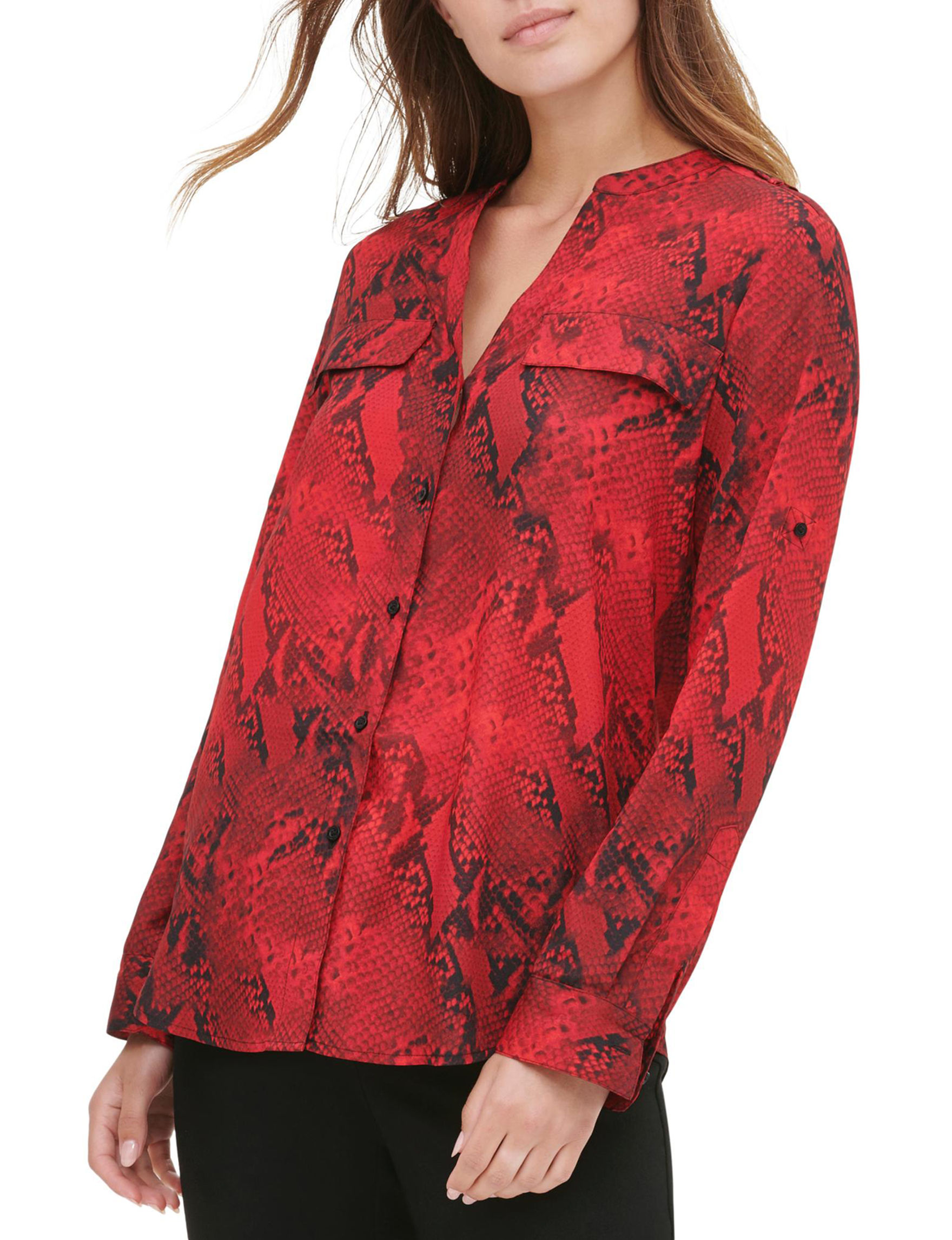 Calvin Klein Red / Black Shirts & Blouses