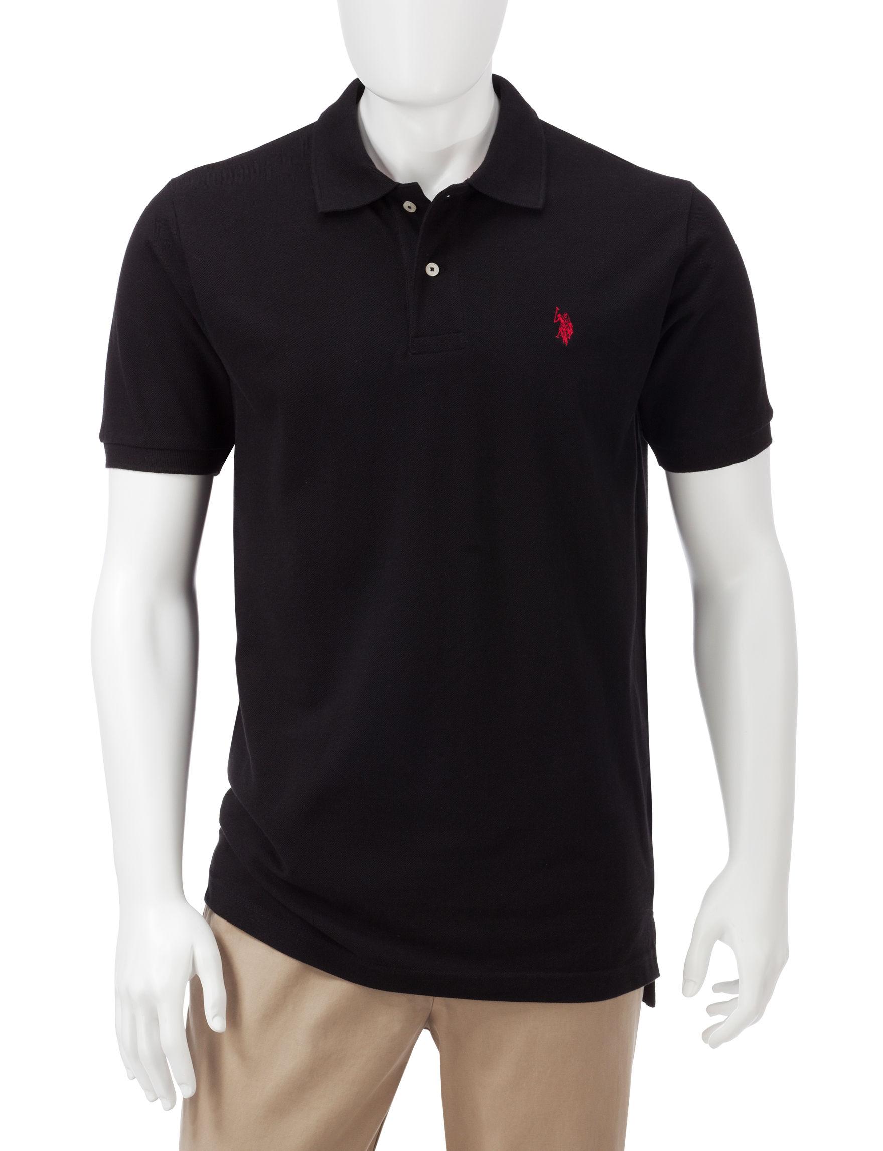 U.S. Polo Assn. Solid Color Piqu Polo Shirt - Black - L - U.S. Polo Assn.