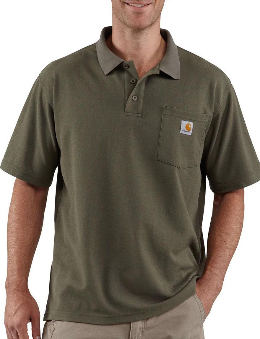 Carhartt Men's Original Fit Contractors Work Solid Color Polo Shirt - Moss - S - Carhartt
