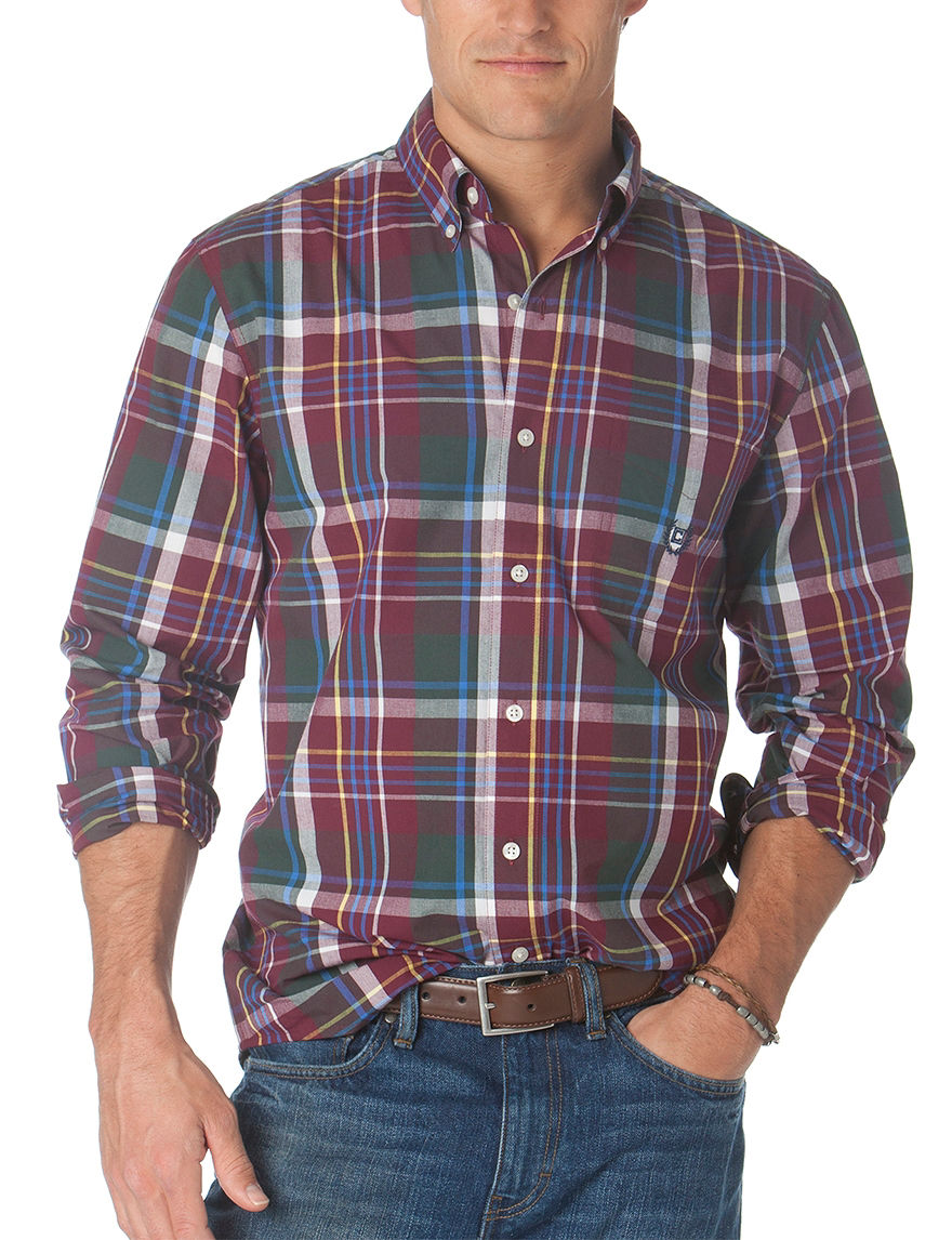 Chaps Burgundy Casual Button Down Shirts