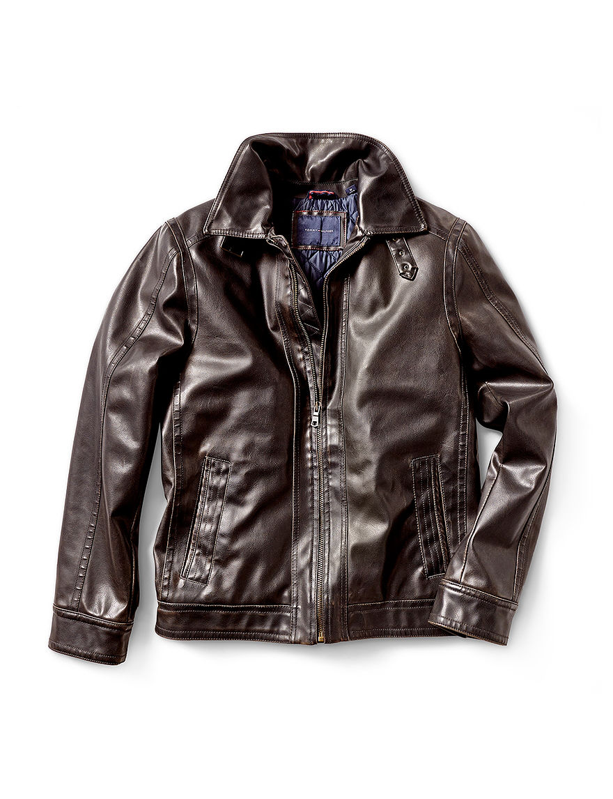 Tommy Hilfiger Brown Bomber & Moto Jackets