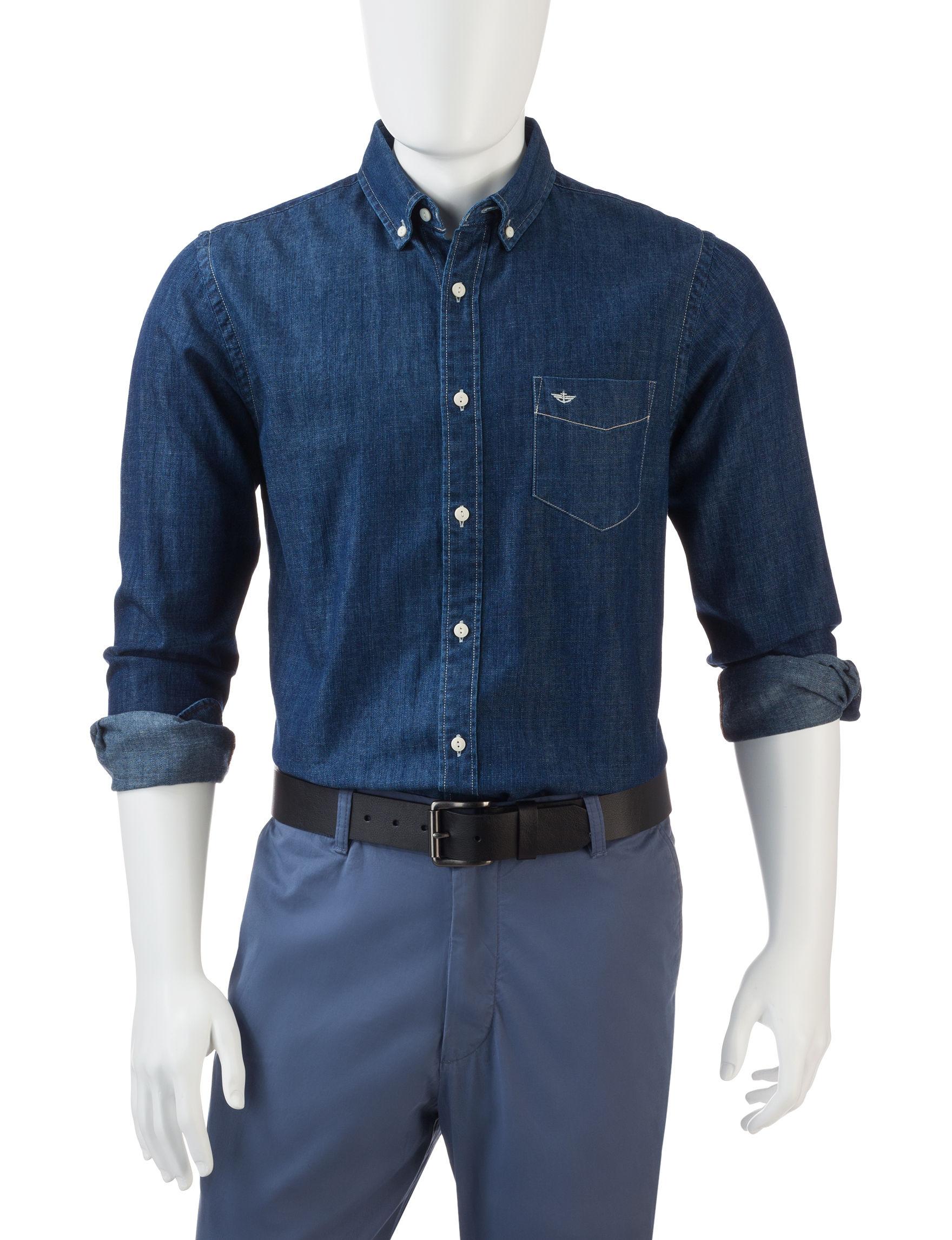 Dockers Indigo Casual Button Down Shirts
