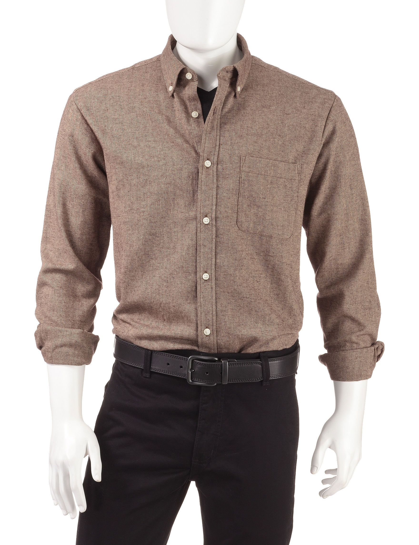 Sun River Brown Casual Button Down Shirts