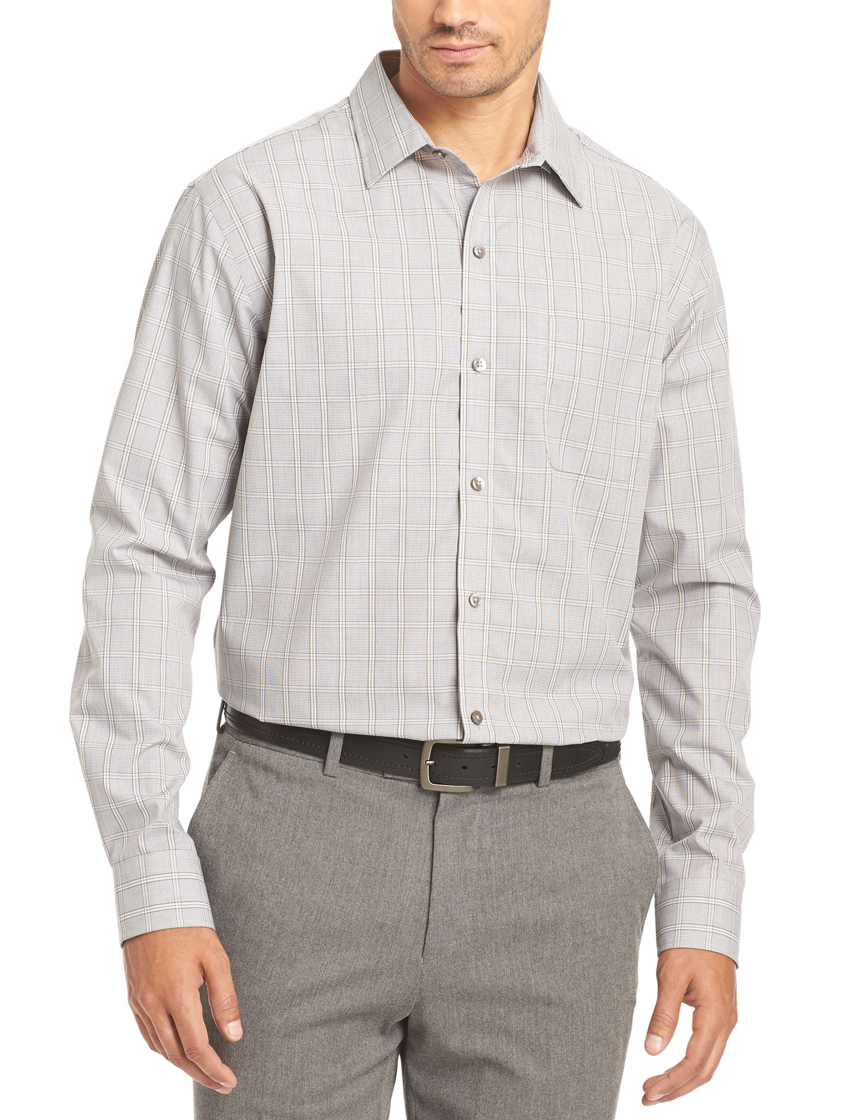 Van heusen glen plaid no iron stretch woven shirt stage for Van heusen plaid shirts