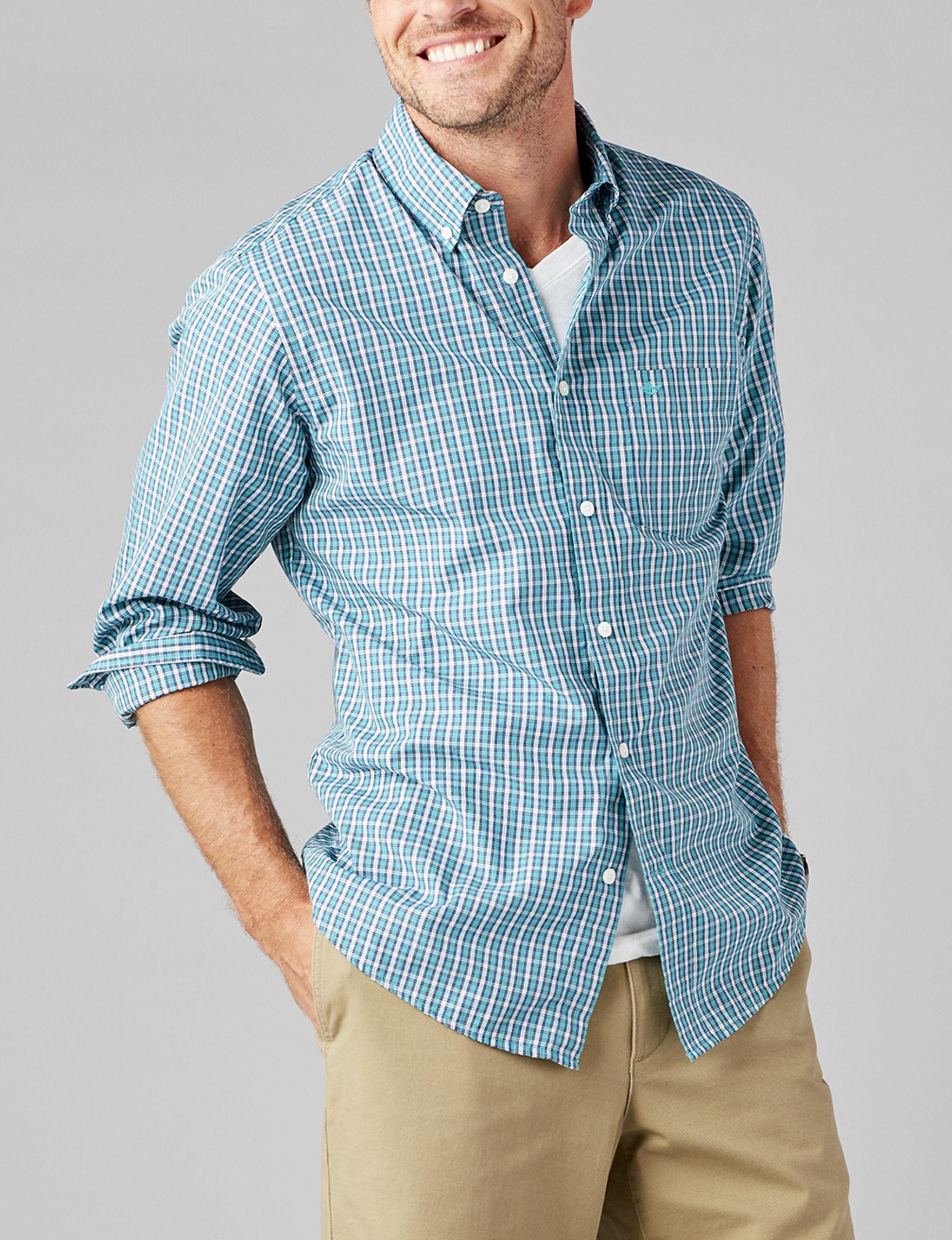 Dockers La Palma Turquoise Casual Button Down Shirts
