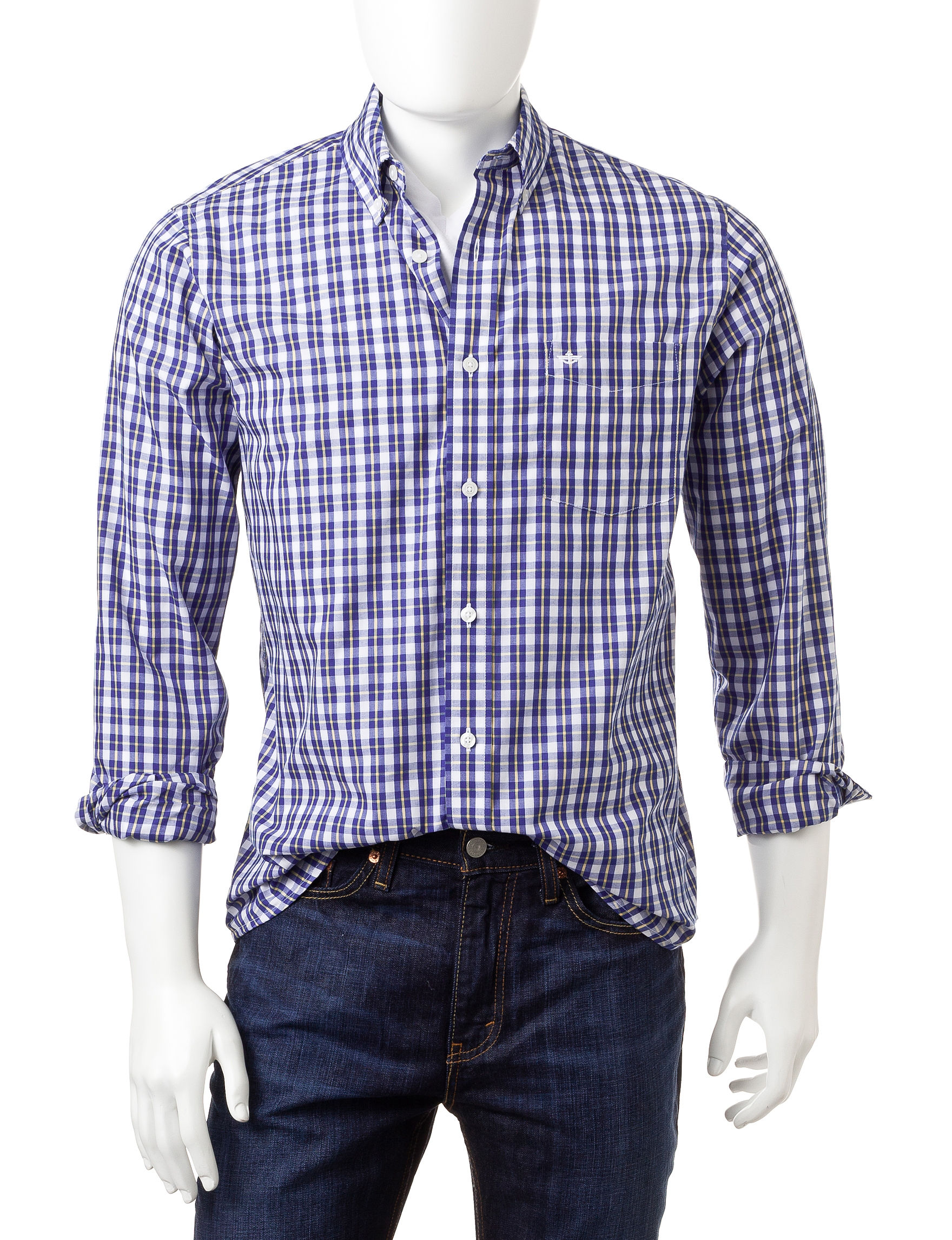 Dockers Catalina Blue Casual Button Down Shirts